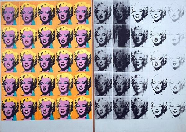 Andy Warhol, Marilyn Diptych , 1962. Oil, acrylic, and silk-screen enamel on canvas.