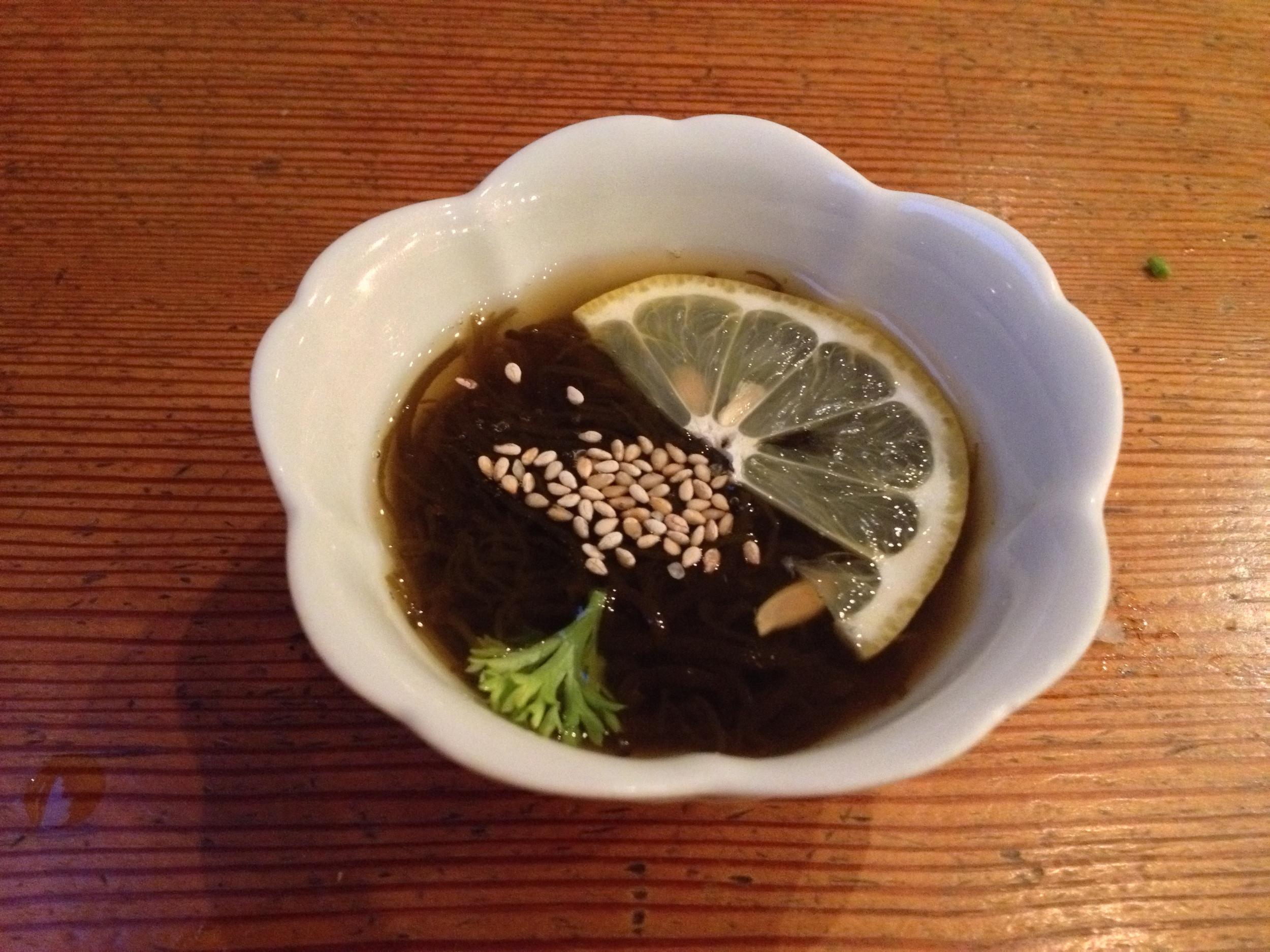 Sunomono (seaweed and cucumber in a vinegar sauce)