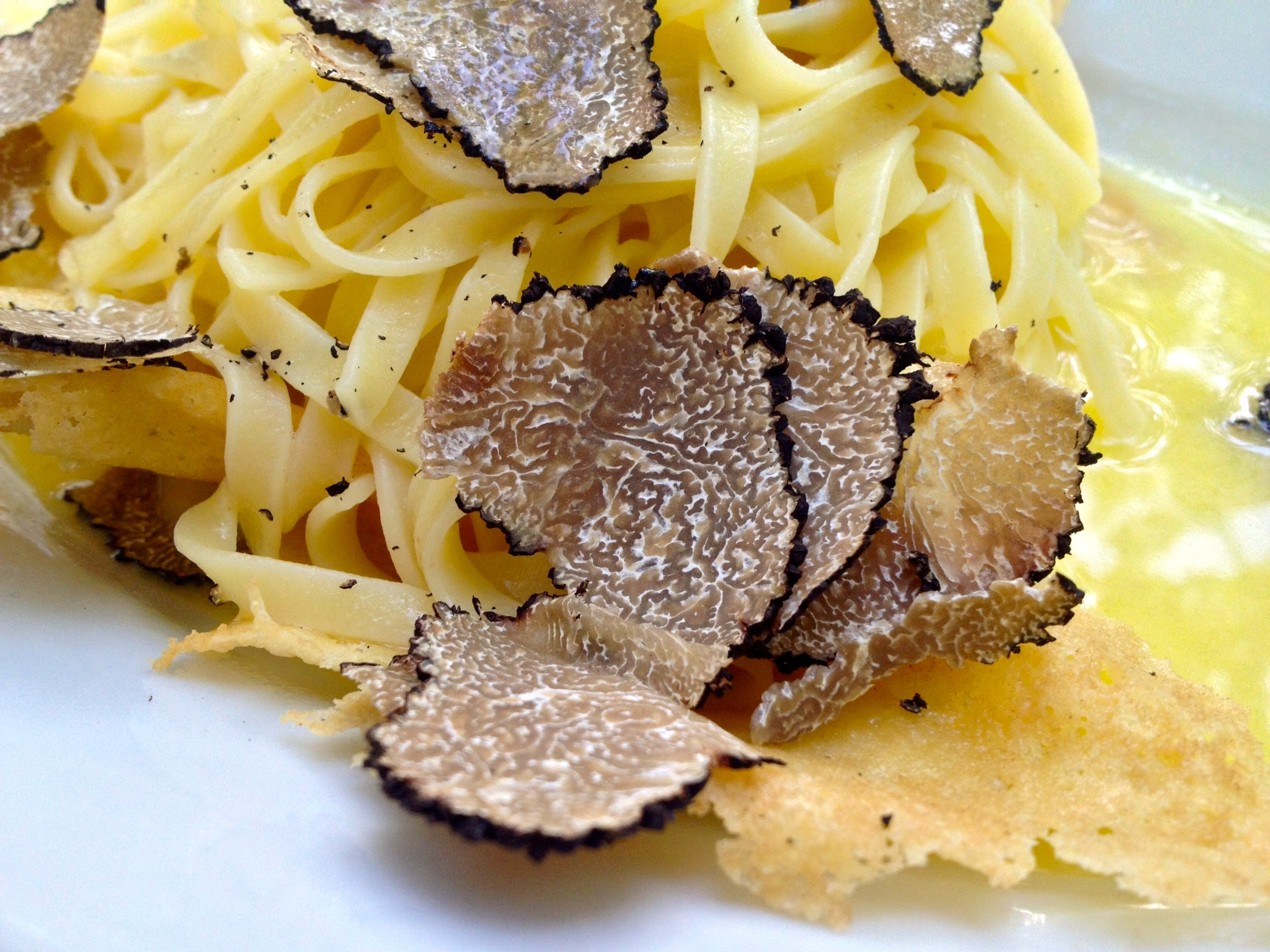 Close-up of the Tagliolini with shaved black truffle and parmesan crisp