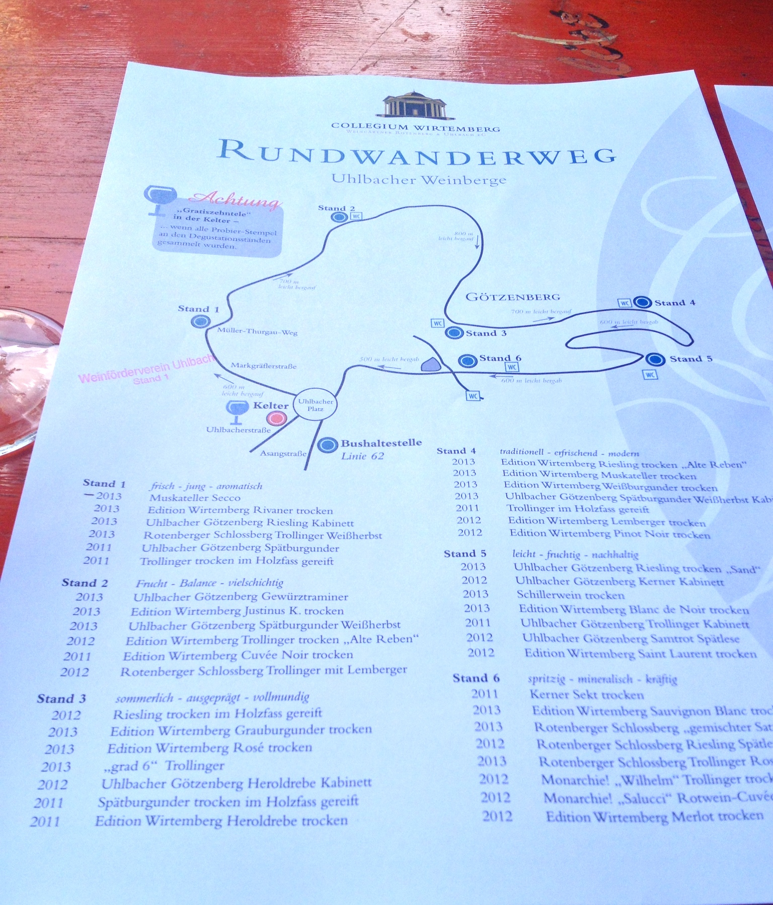 Our walking map and guide to the wines at each stand