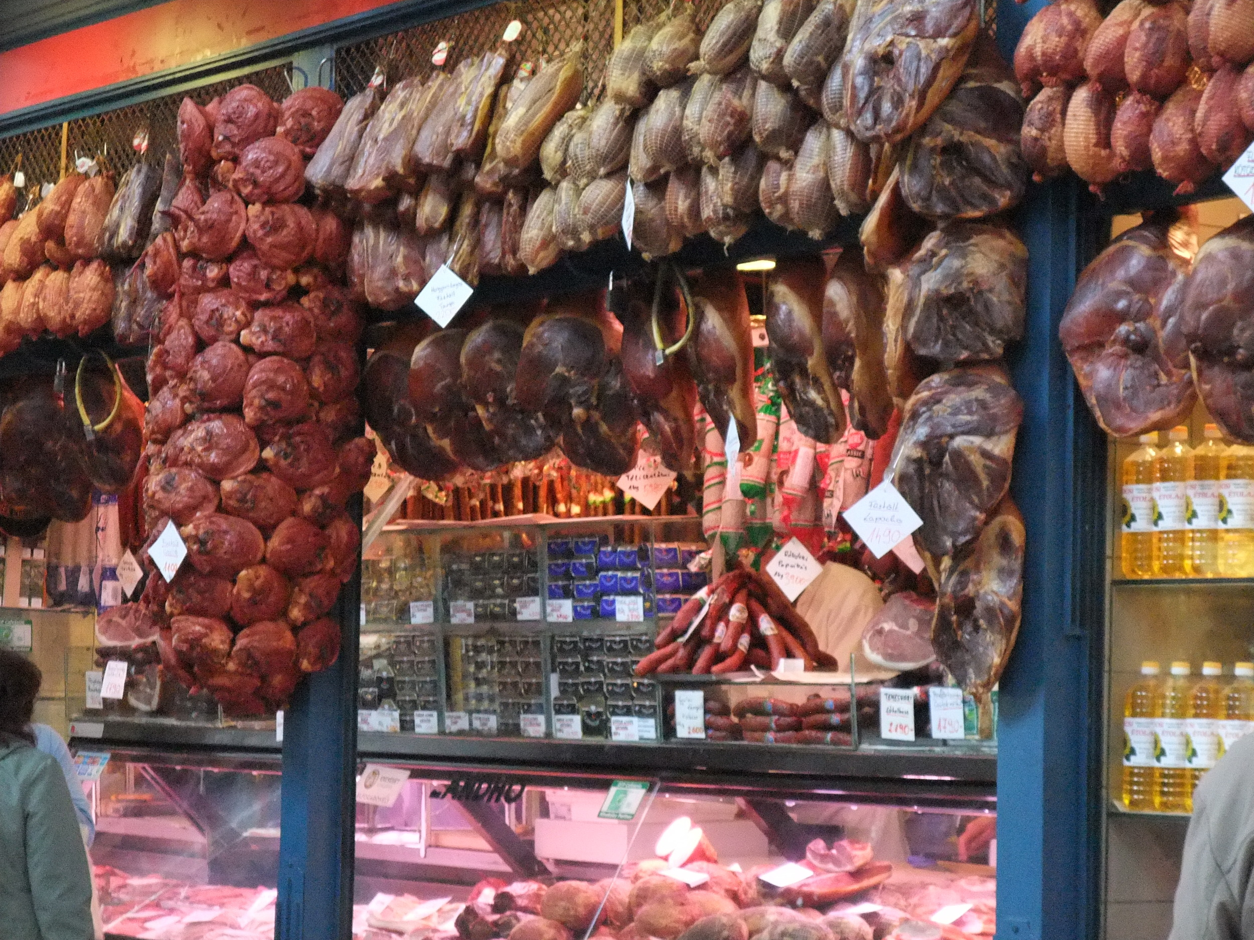 Meat stall inside the Great Market Hall