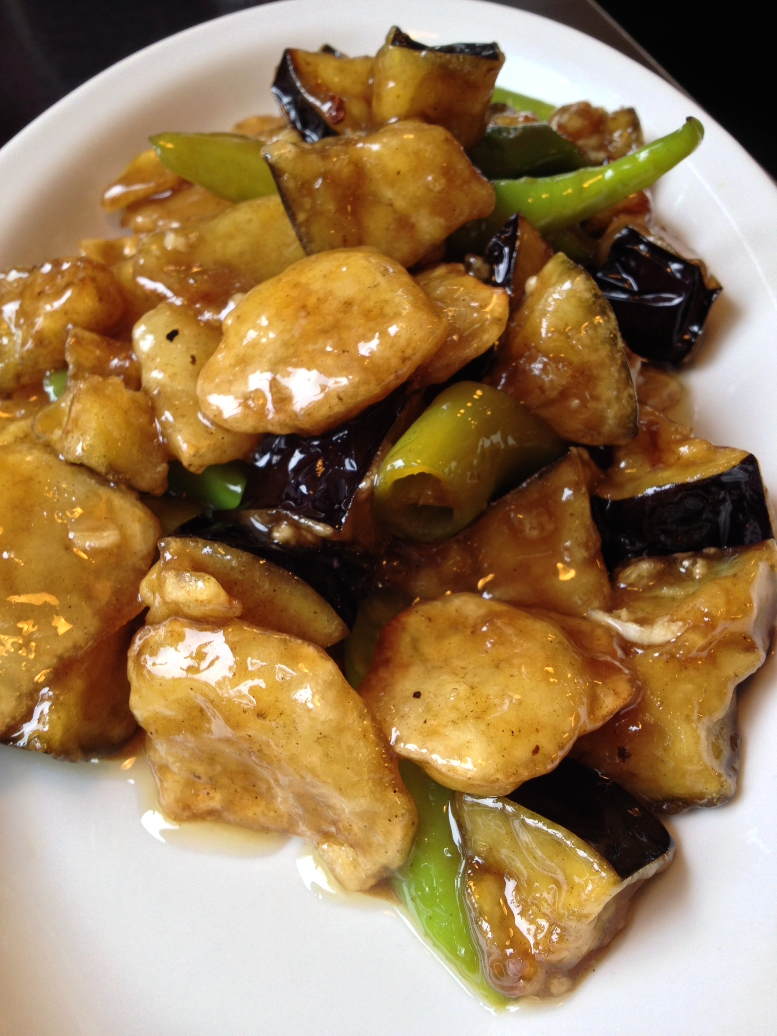 Eggplant with fried potatoes and peppers -- a slight variation on my favorite eggplant and peppers