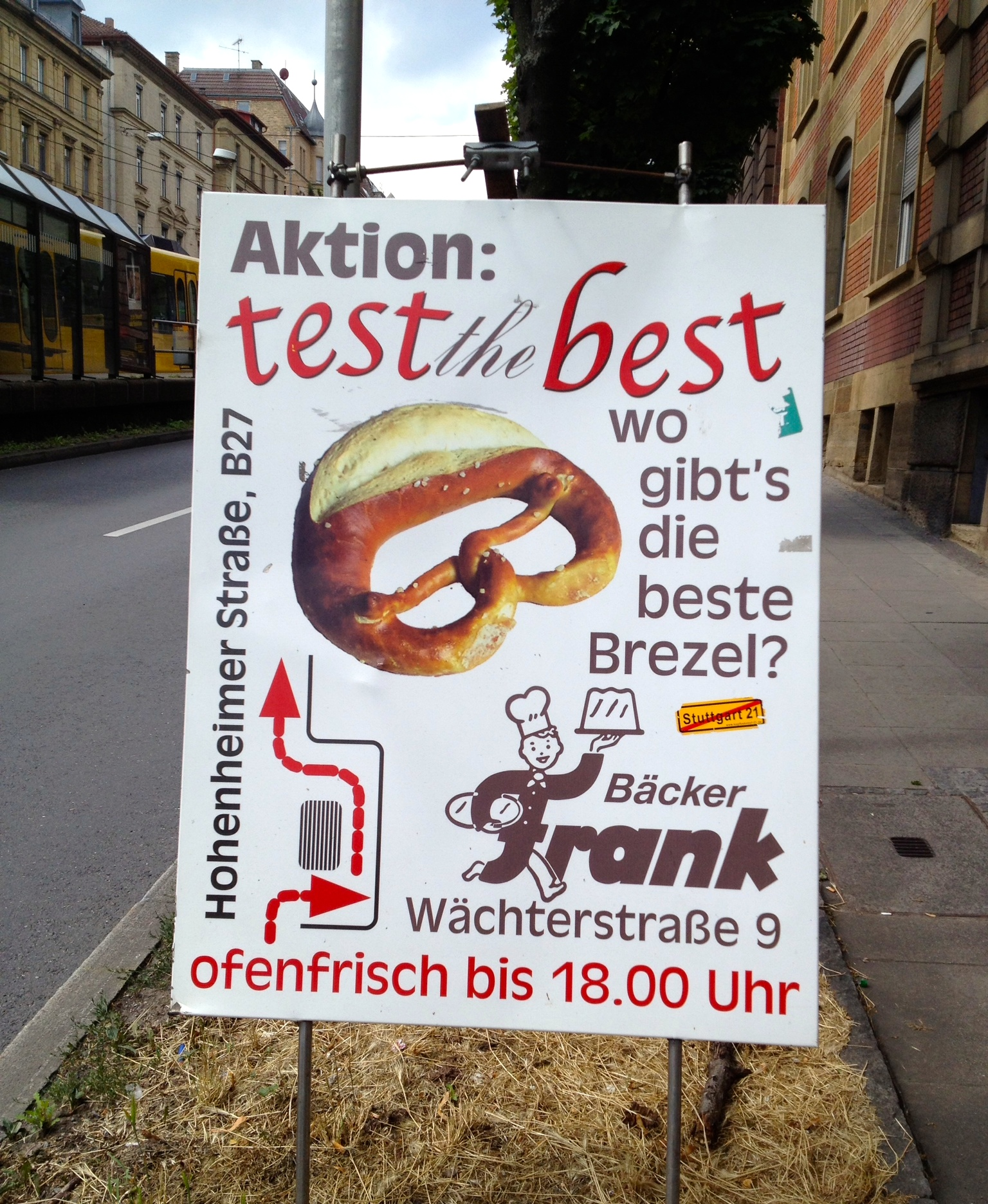 The sign advertising Bäckerei Frank's pretzels
