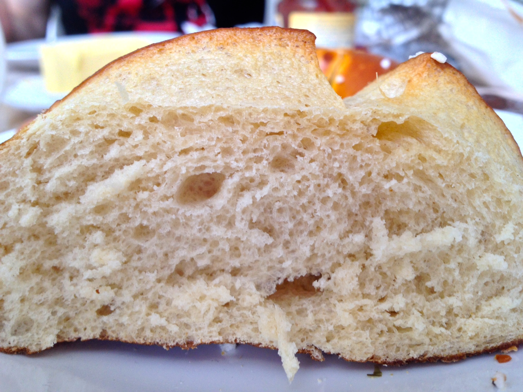 Inside a Laugenbrötchen. Note the crispy crust and soft center.