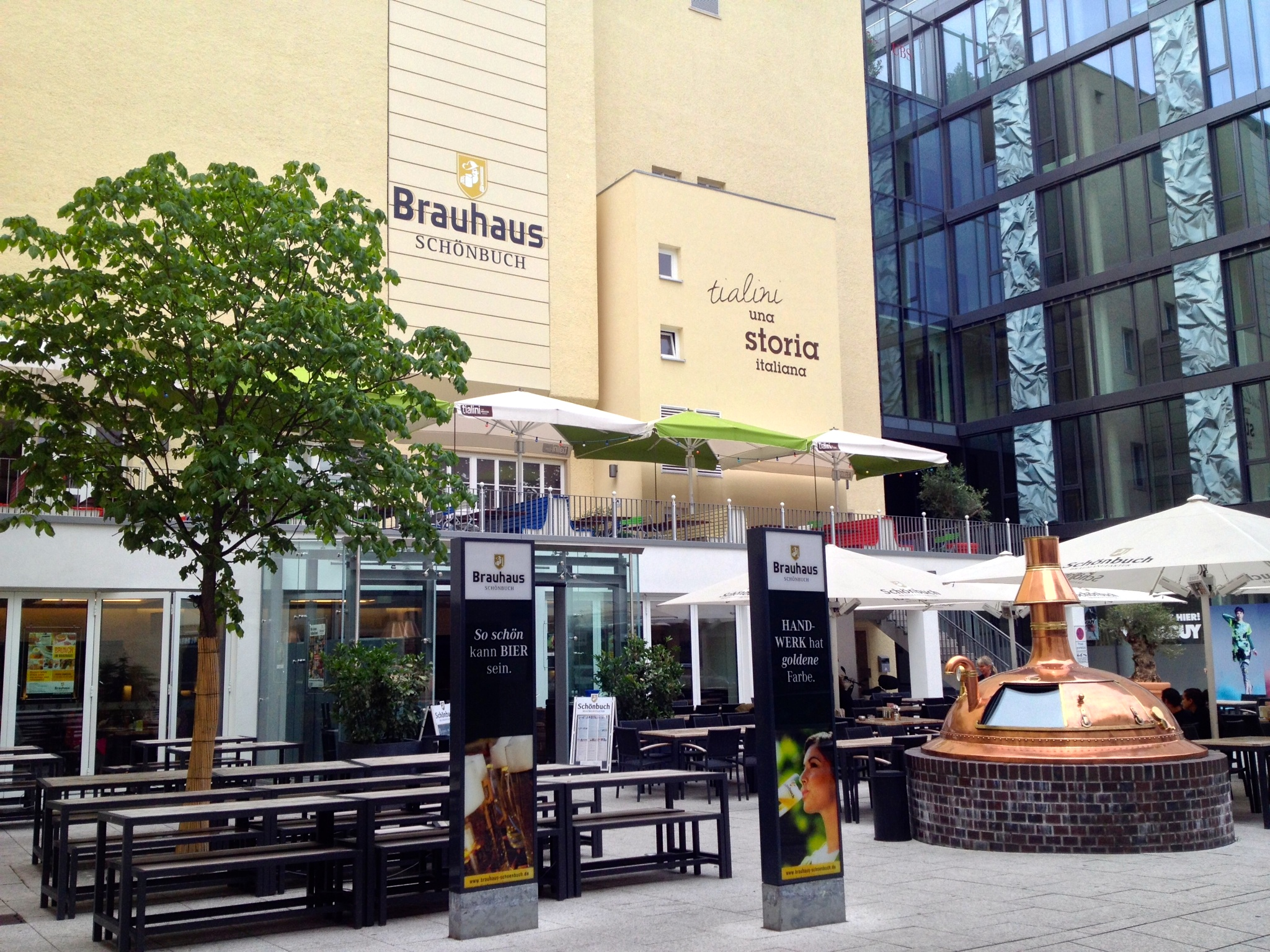 The lovely patio in front of  Brauhaus Schönbuch,  complete with giant copper boiler.