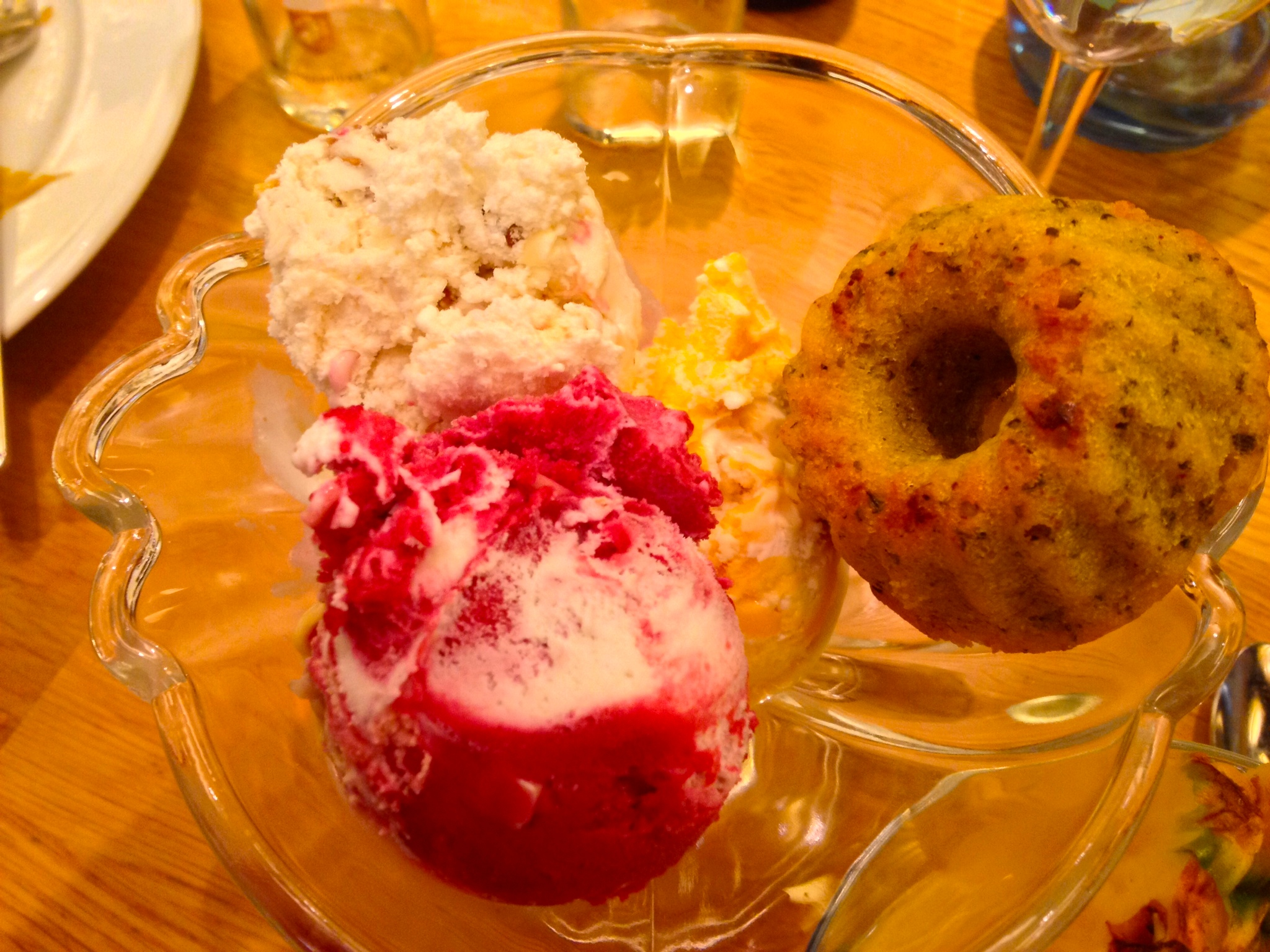 For dessert: walnut, mango, and raspberry-white chocolate ice creams and a lemon-poppy mini-cake