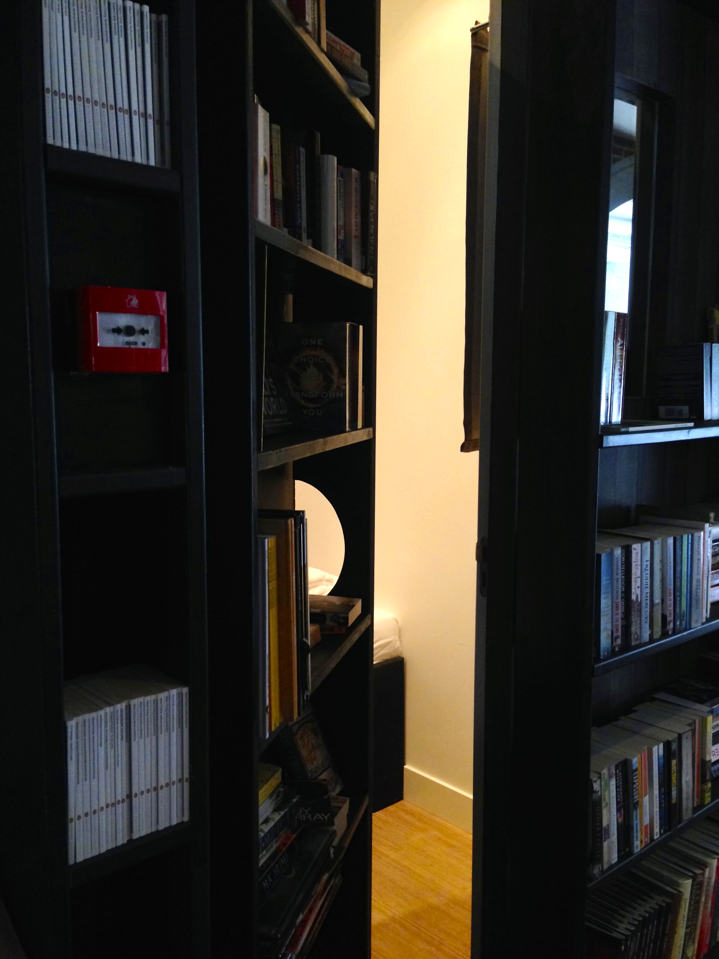Our room behind the bookcase