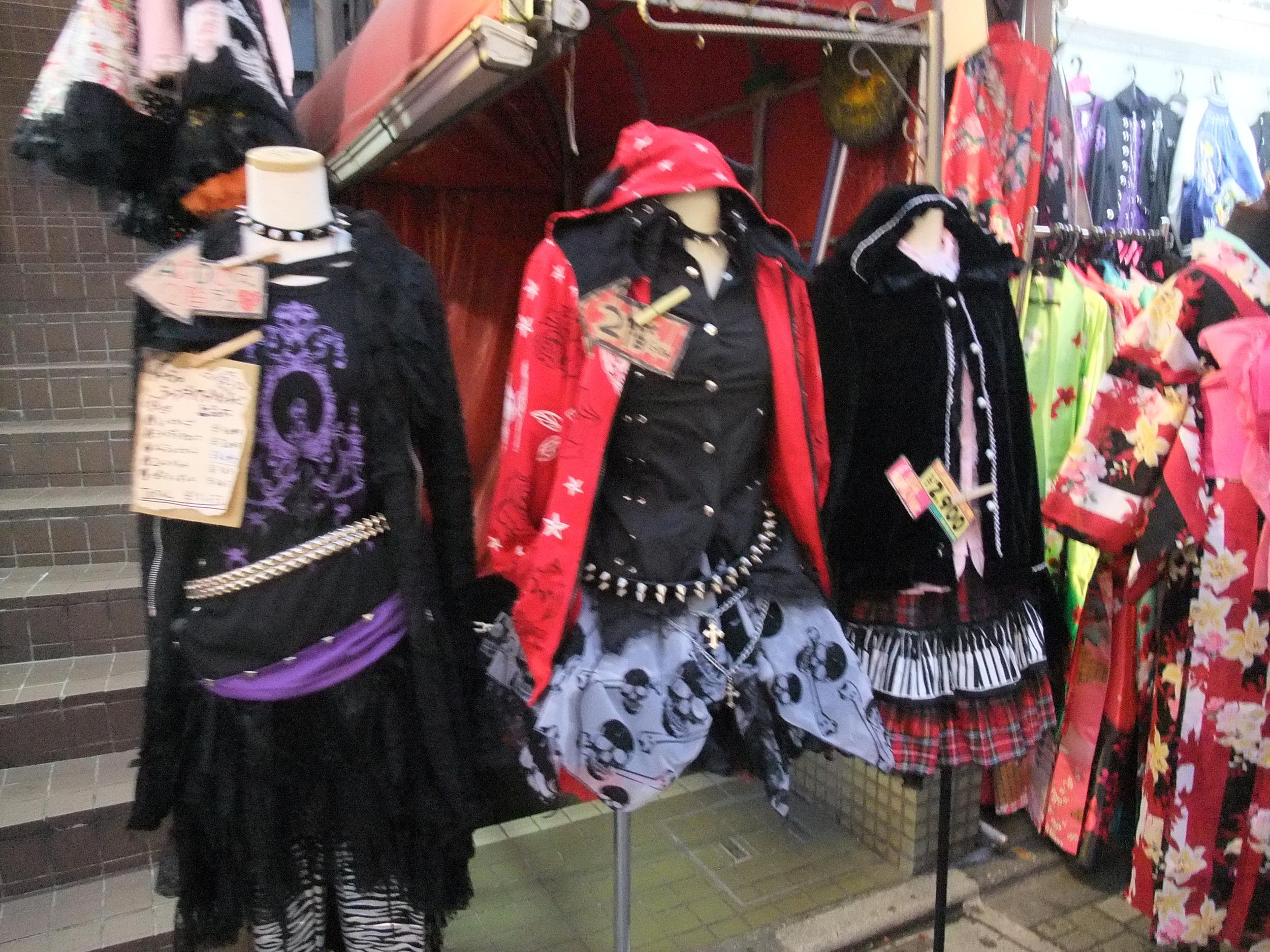 Punk Lolita outfits for sale on Takeshita Street
