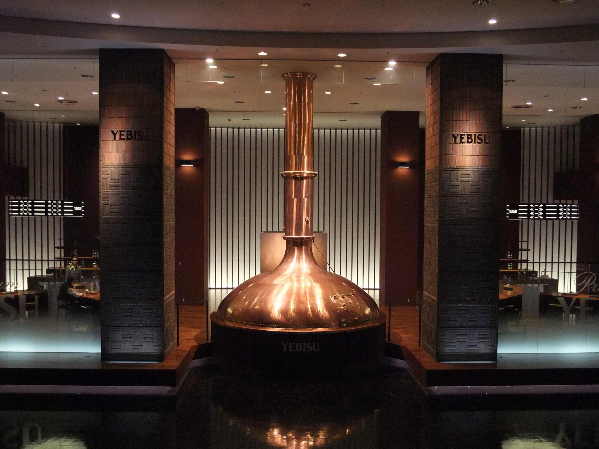 The large copper boiler inside the museum