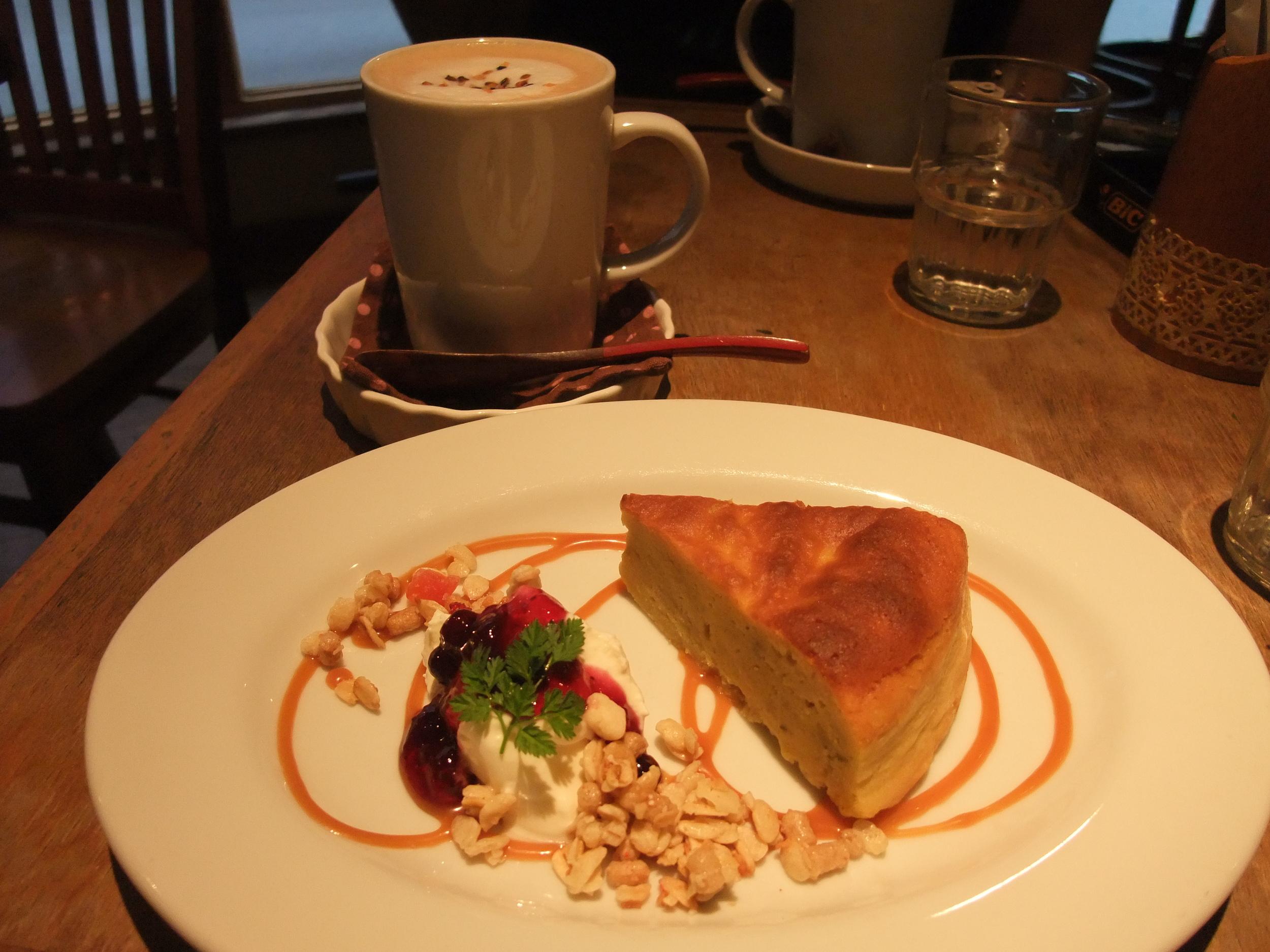 Sweet potato cake in a café