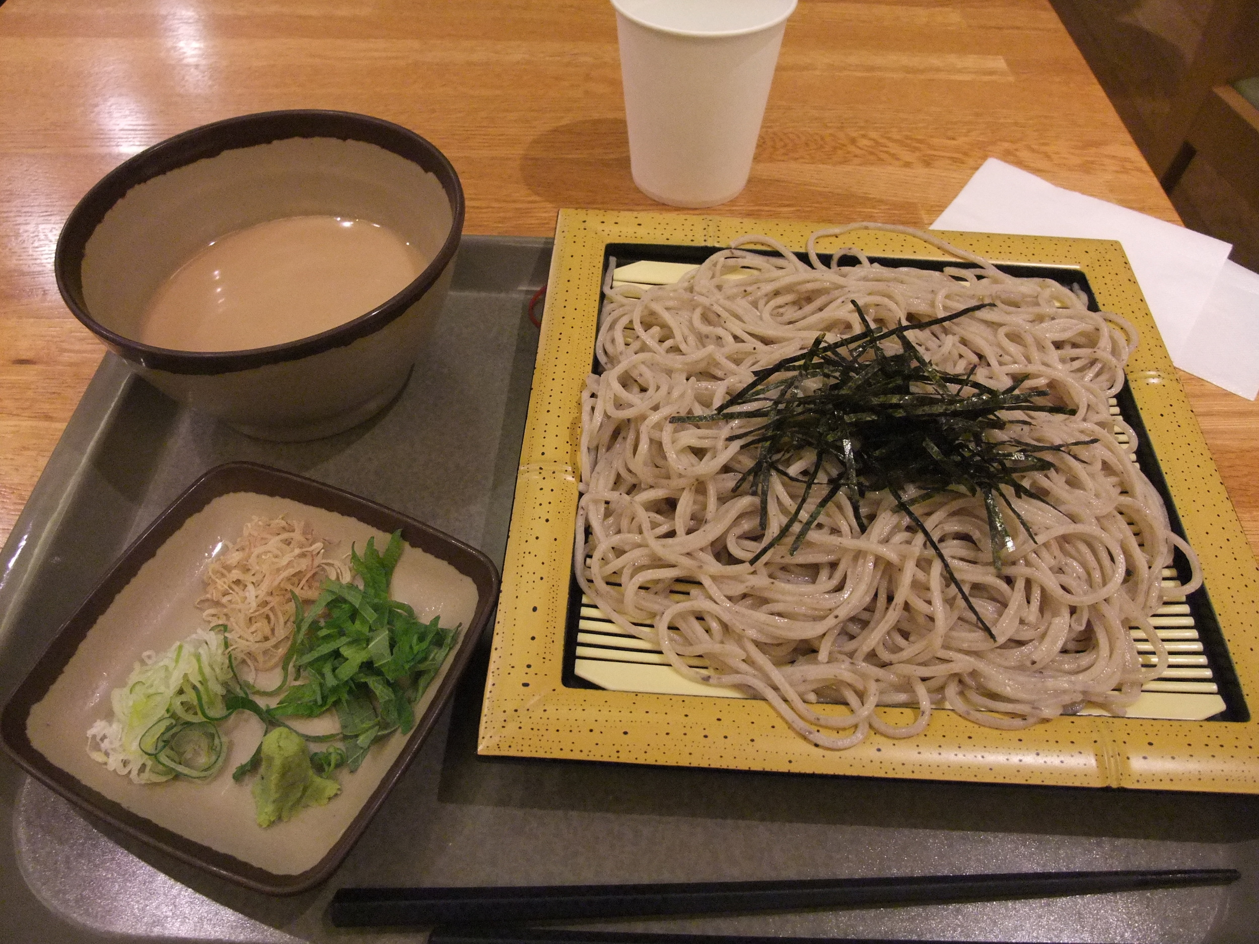 Soba noodles served cold with a dipping sauce