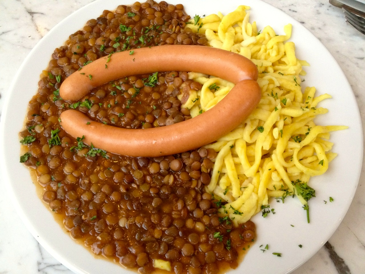 Traditional German  linsen und spätzle