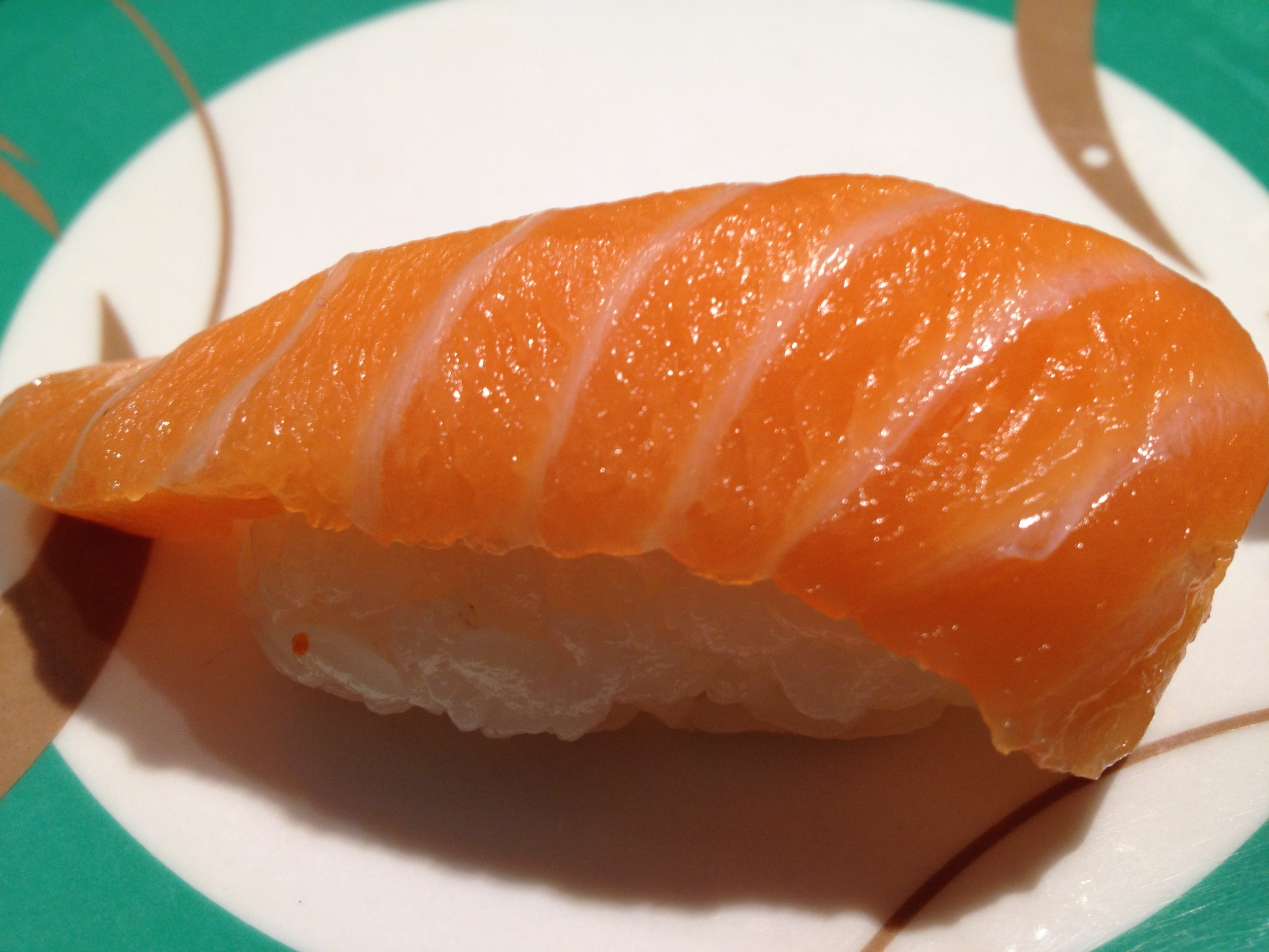 Beautiful salmon nigiri at Chopstix