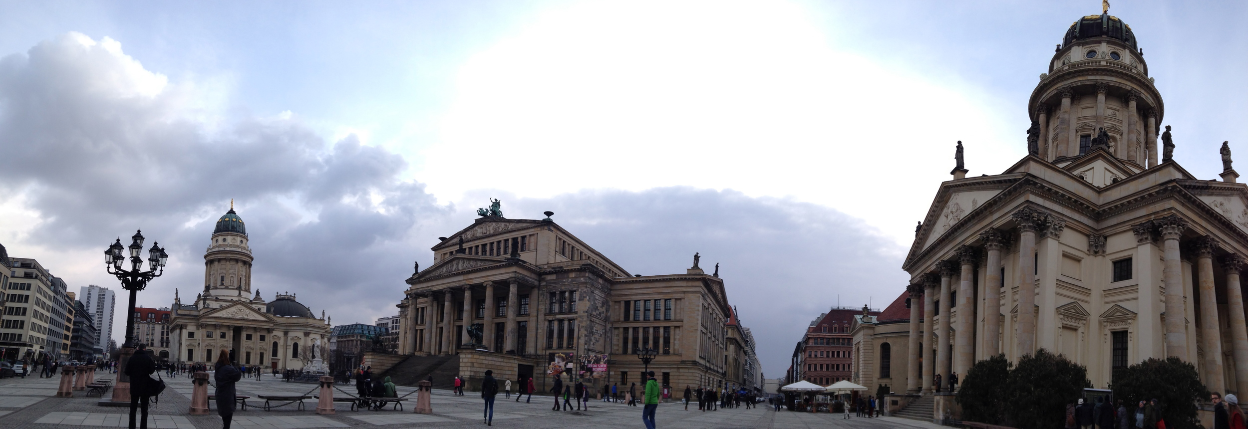 Gendarmenmarkt with the Neue Kirche (left), Konzerthaus (center), and Französiche Friedrichstadtkirche (right)