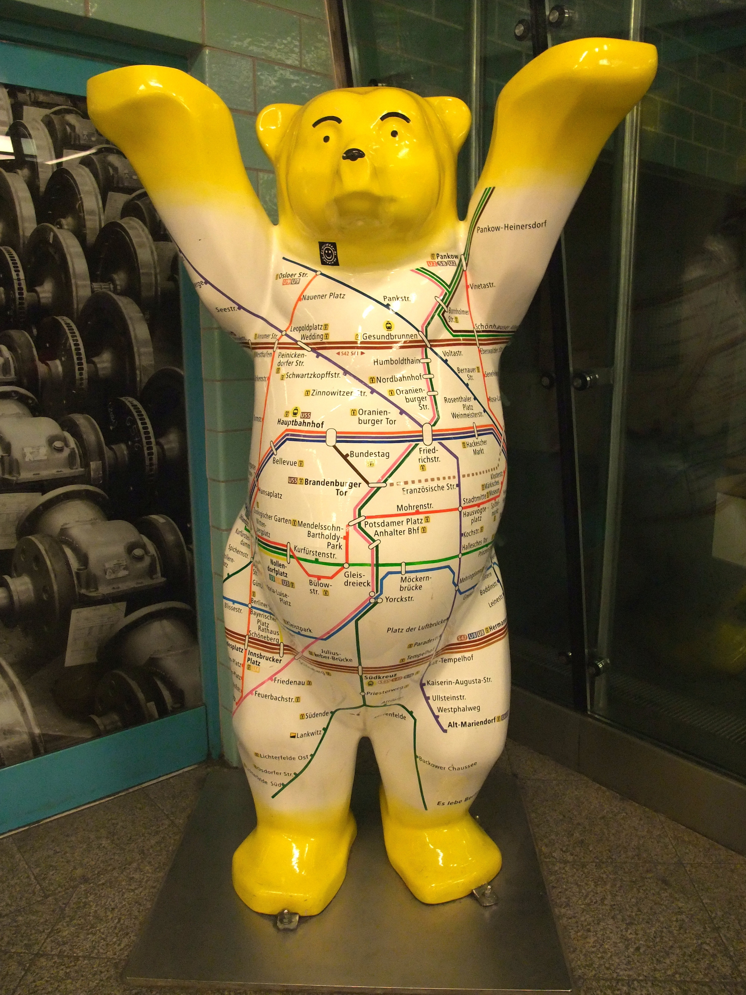 One of the iconic Berlin bears with a subway map on his body