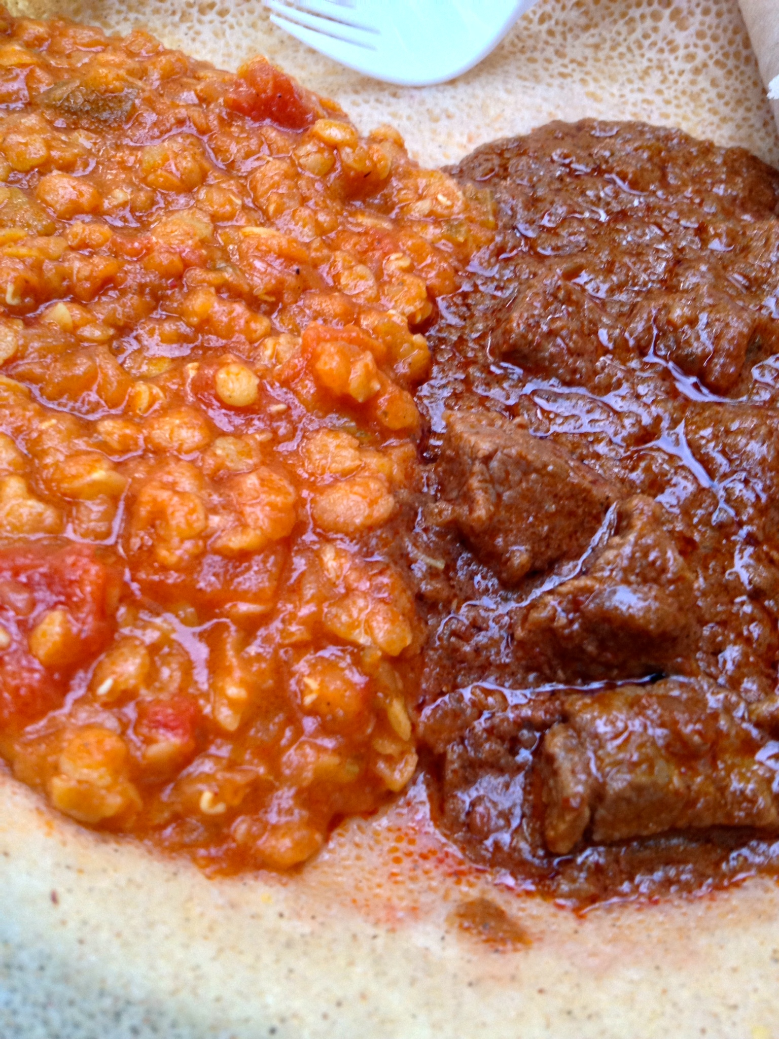 Lentils and beef on injera at Adulis
