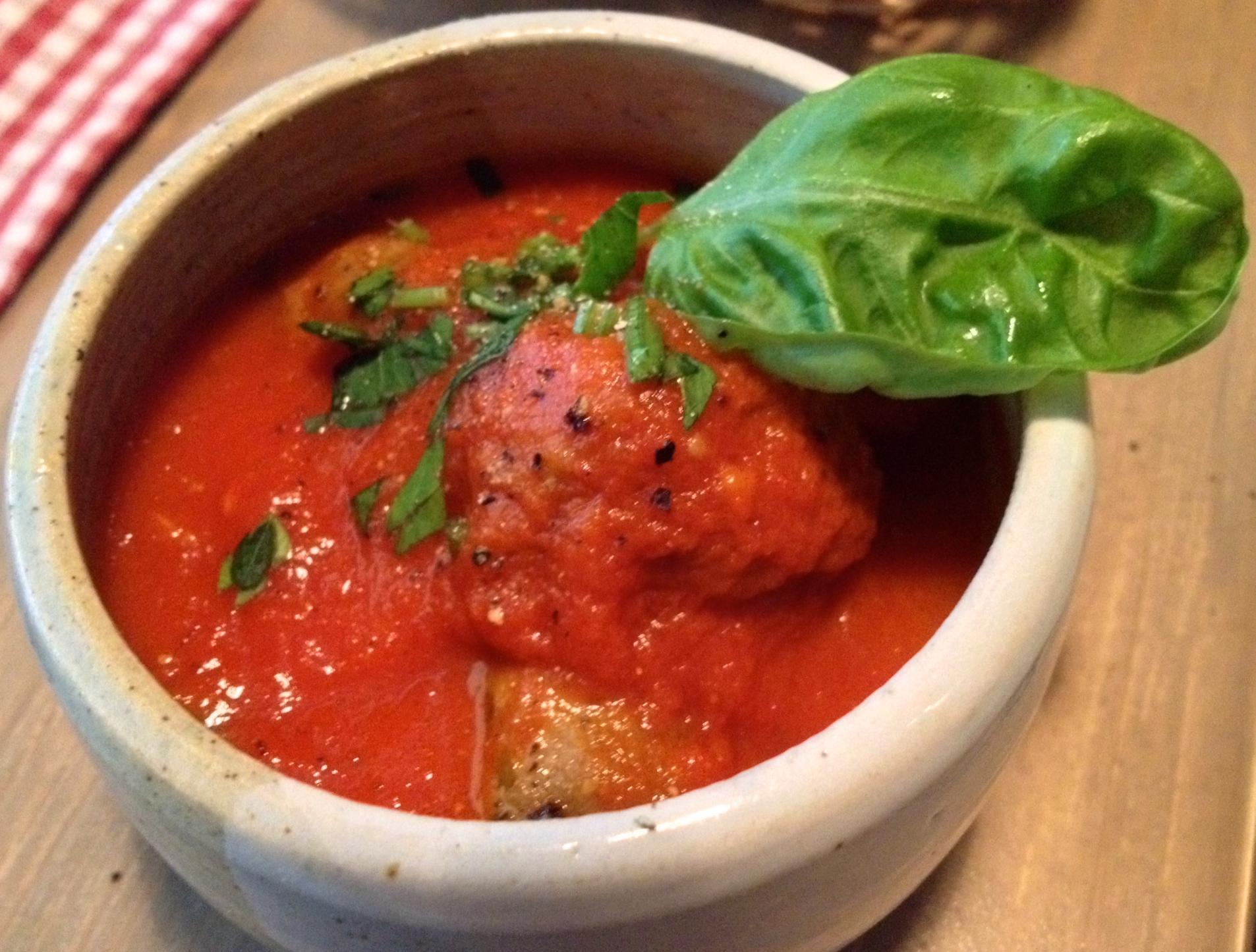 Albondigas in a basil-tomato sauce