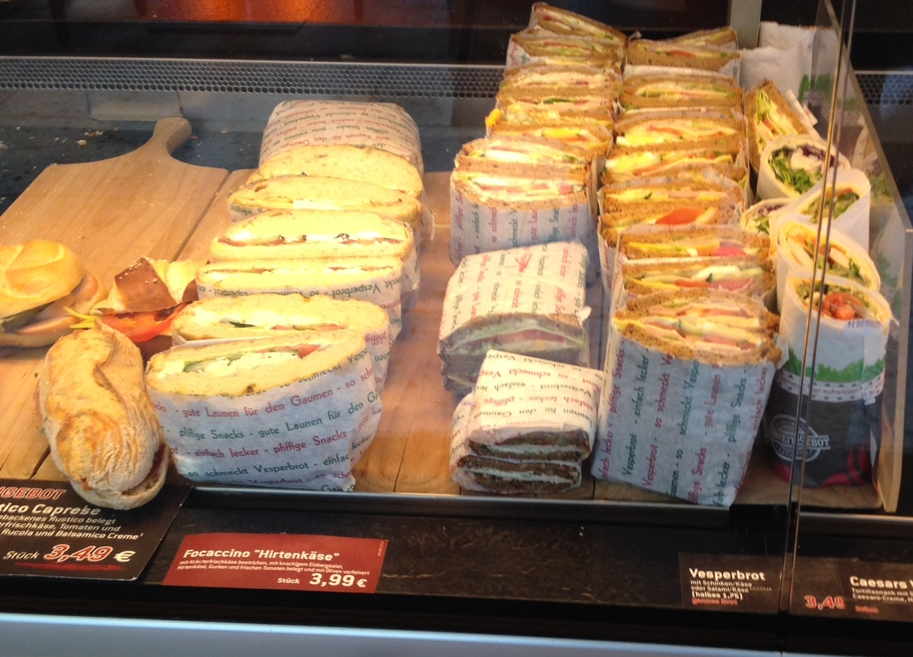Sandwiches in a bakery window