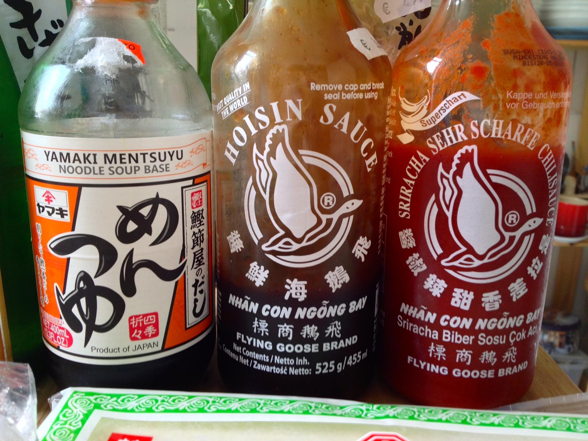 Mentsuyu soup base, hoisin sauce, and sriracha