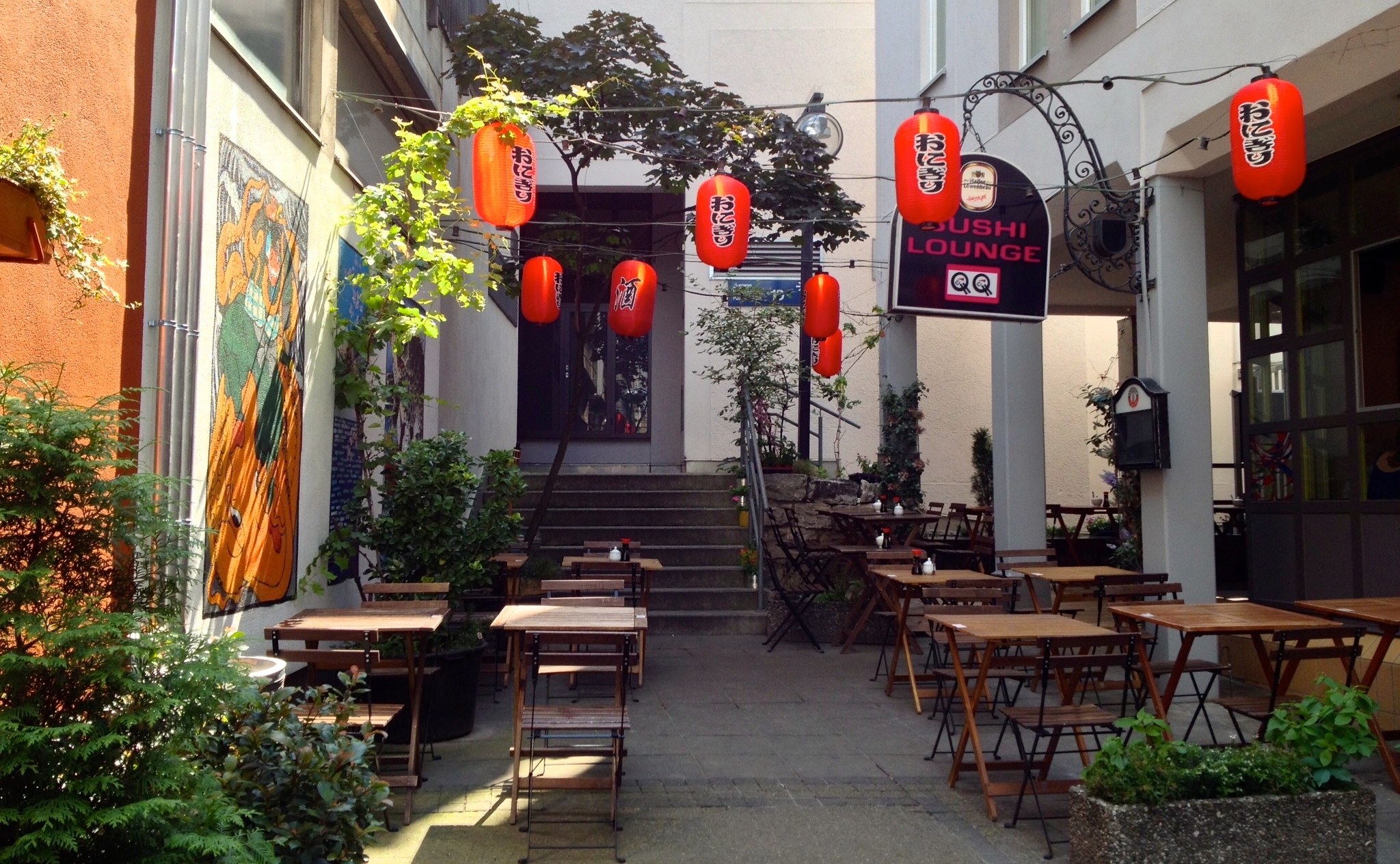 The sunny patio at QQ Sushi Lounge on Kanalstraße