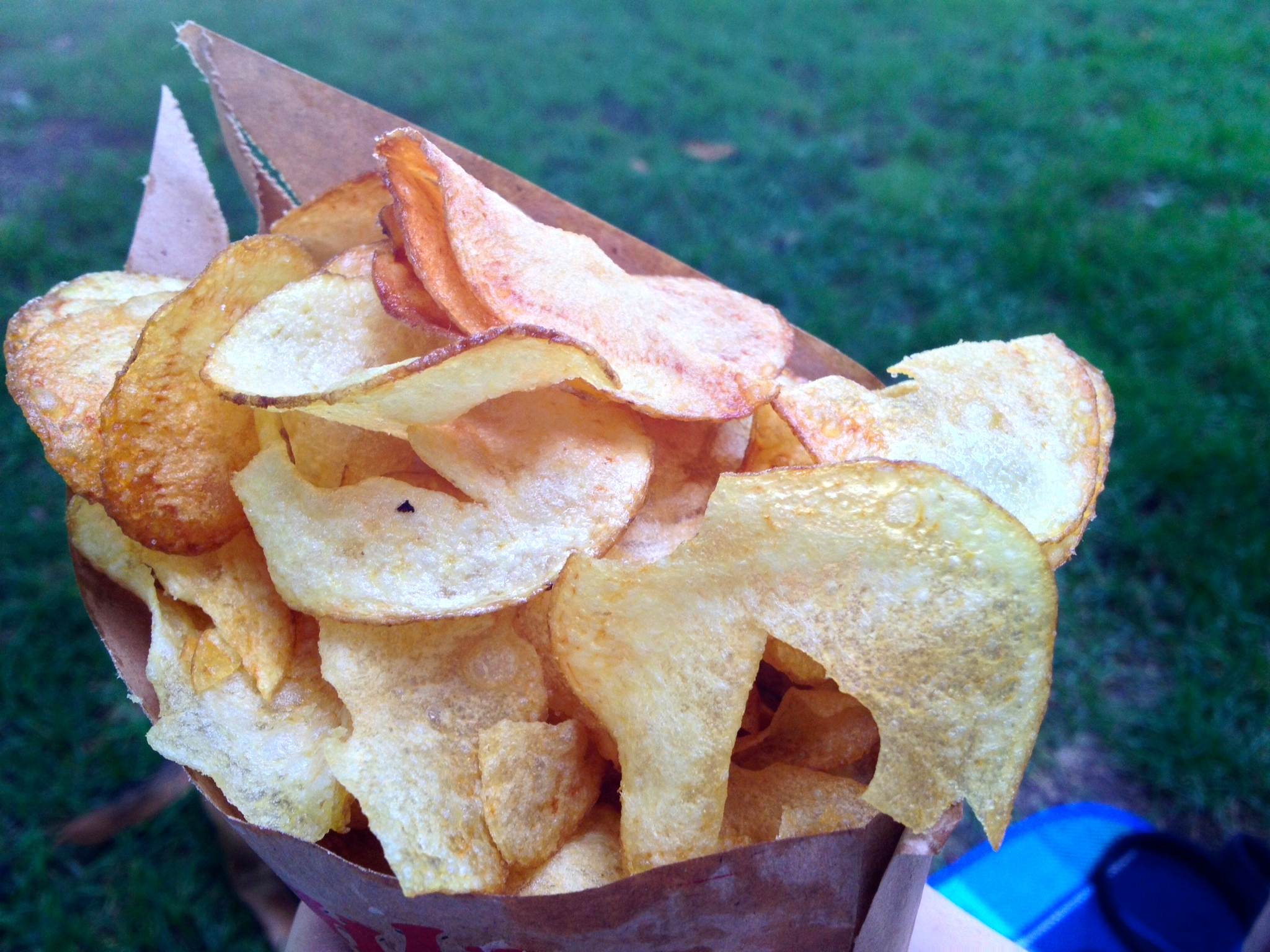Fresh fried potato chips