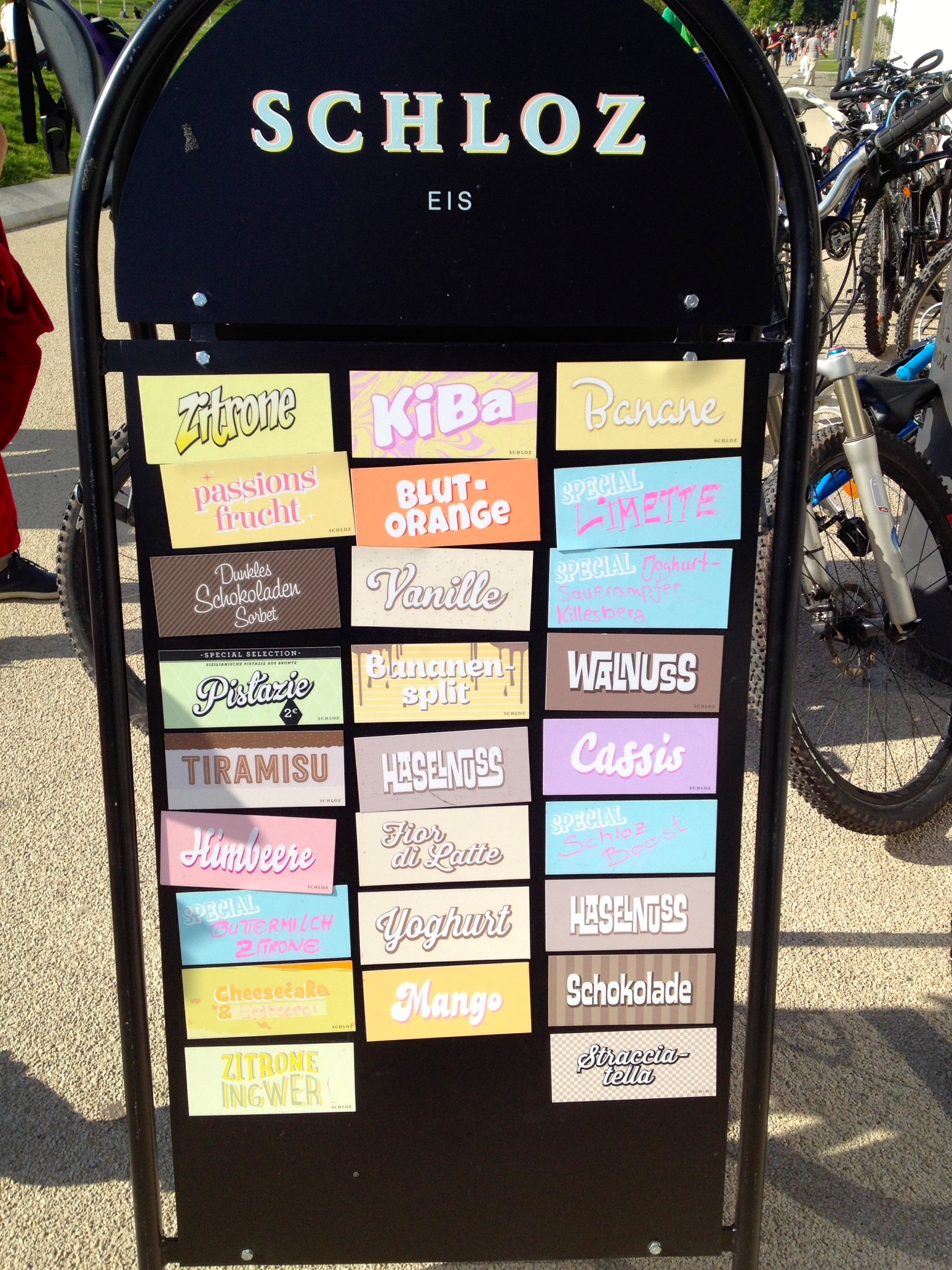 The ice cream flavors today at Schloz Eis
