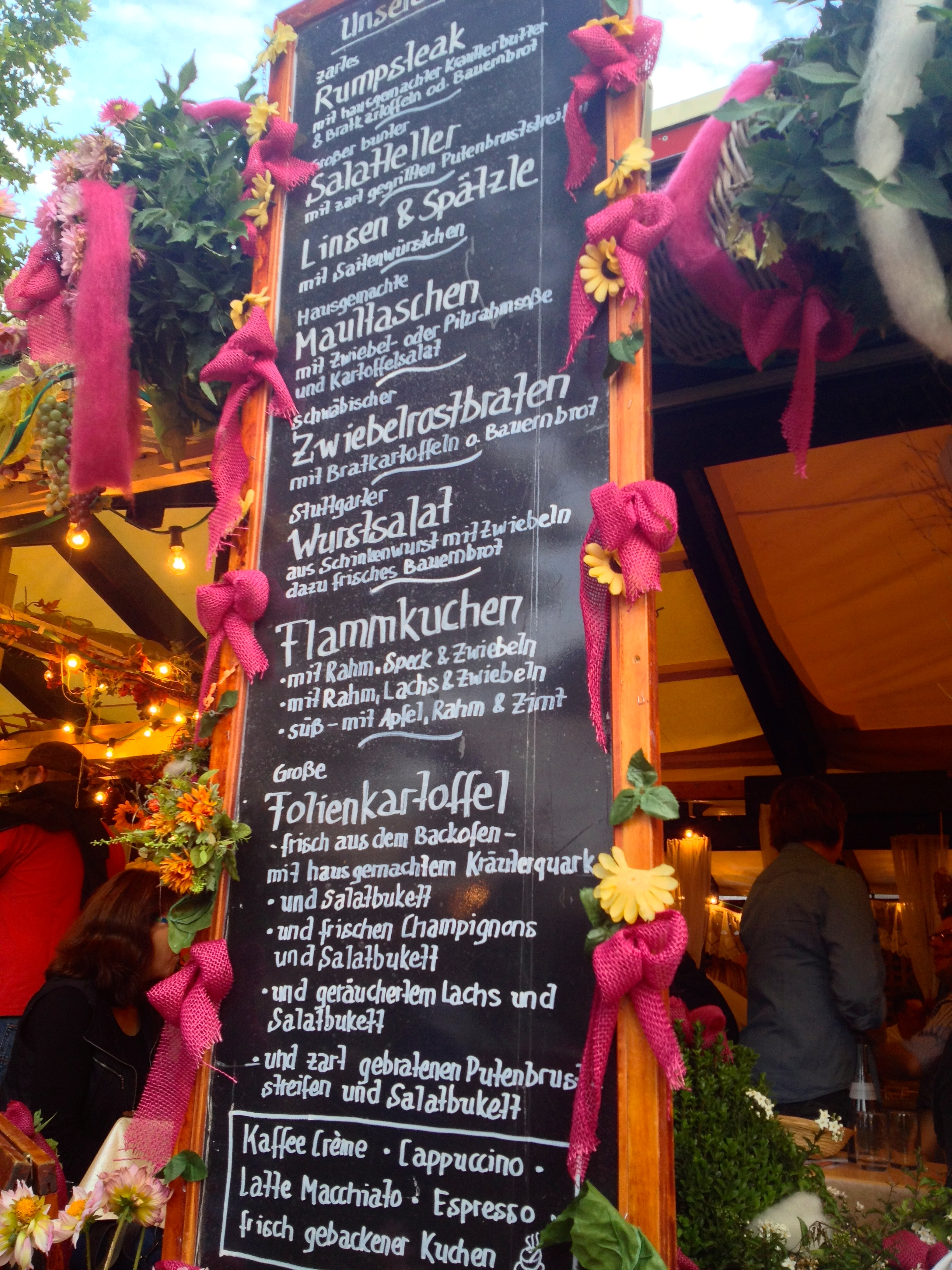 A menu with traditional Swabian dishes