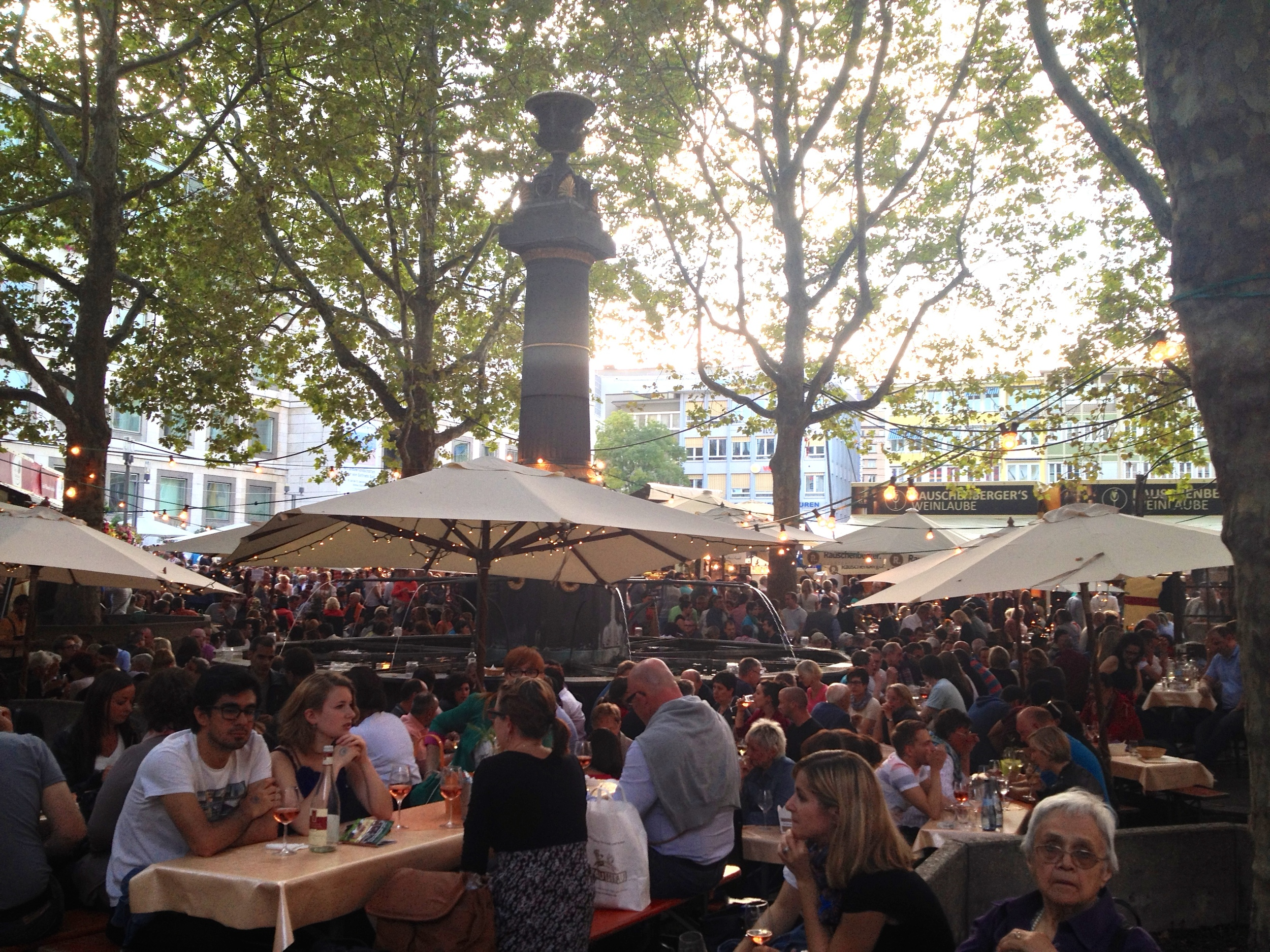 The lovely outside seating in the  Marktplatz