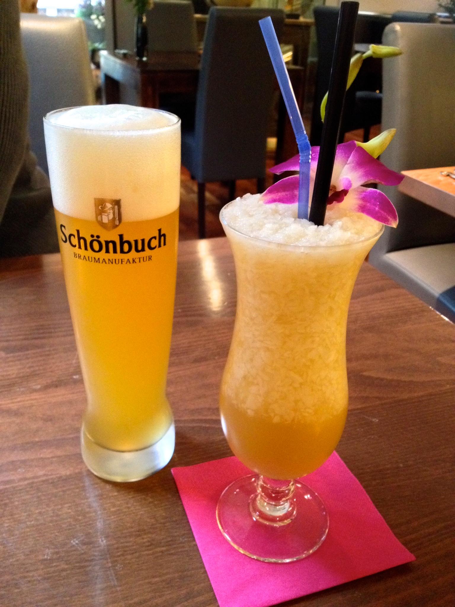 Schönbuch Hefeweizen  and a Floating Market cocktail