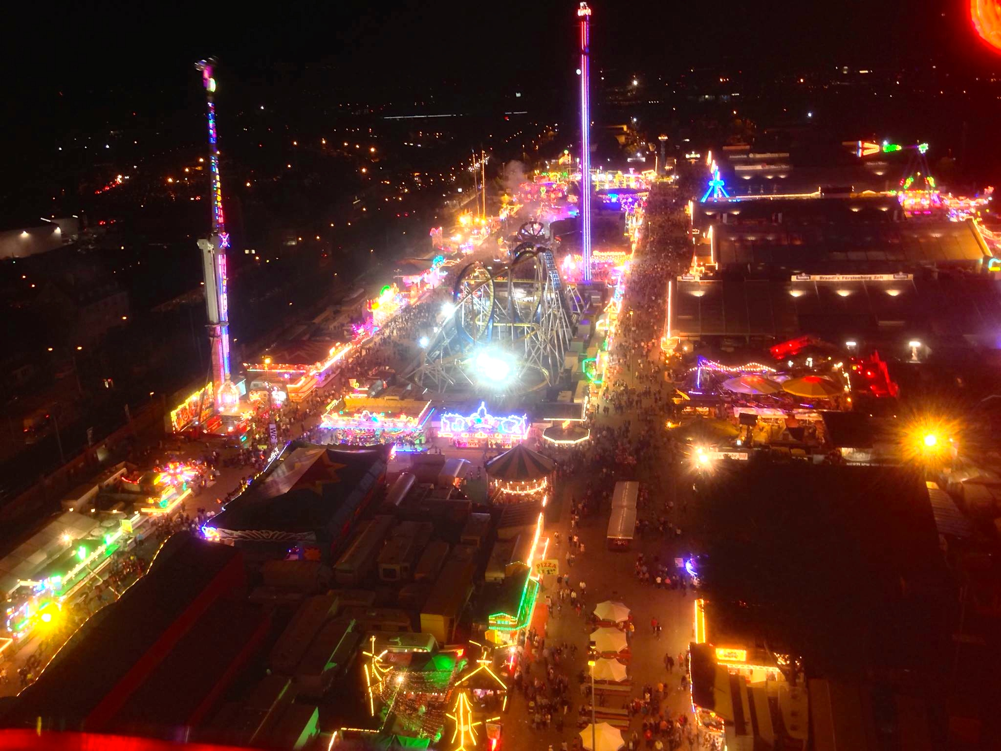 The fairground as seen from the Ferris wheel