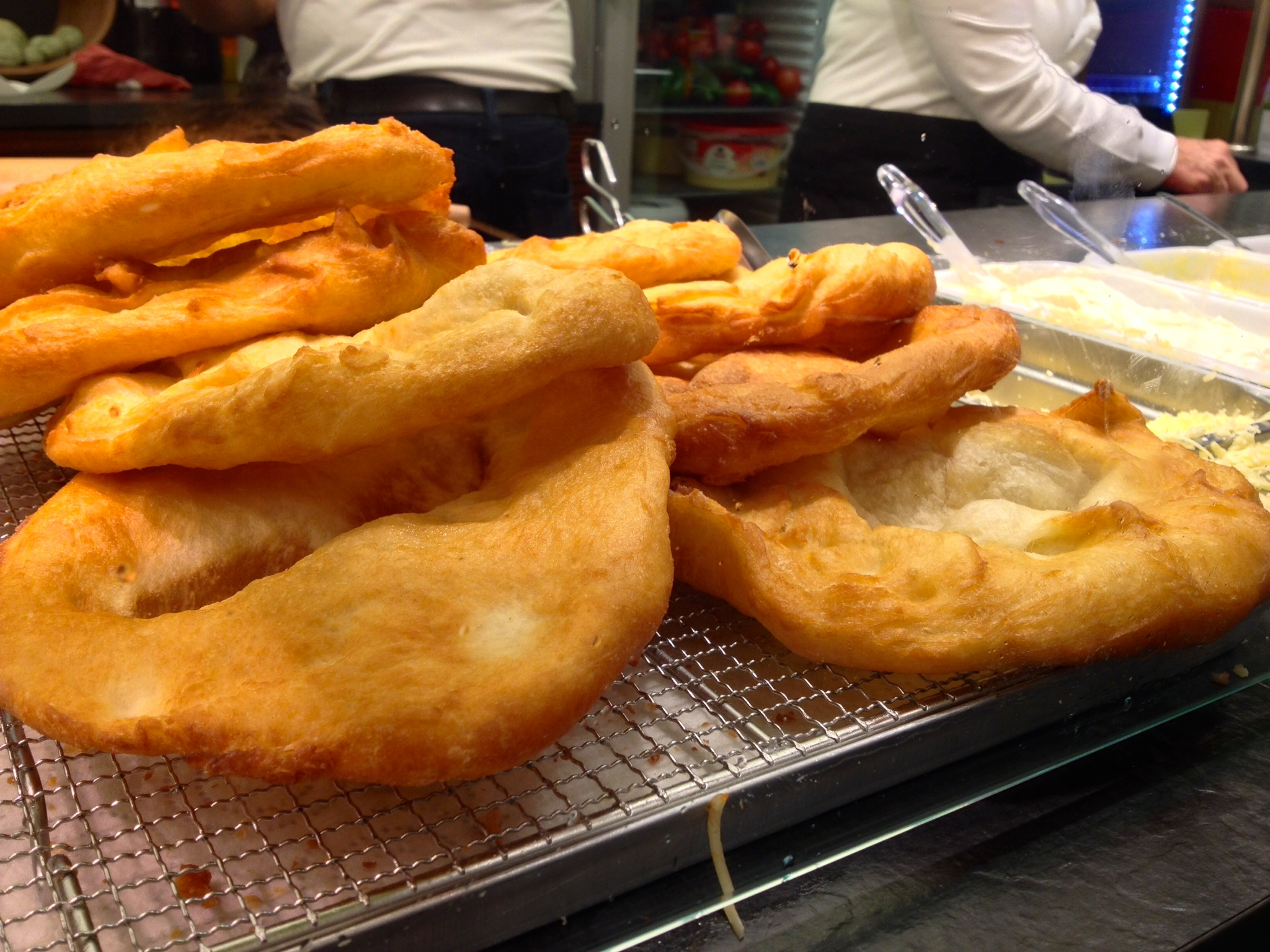 Fried  langos  ready for toppings