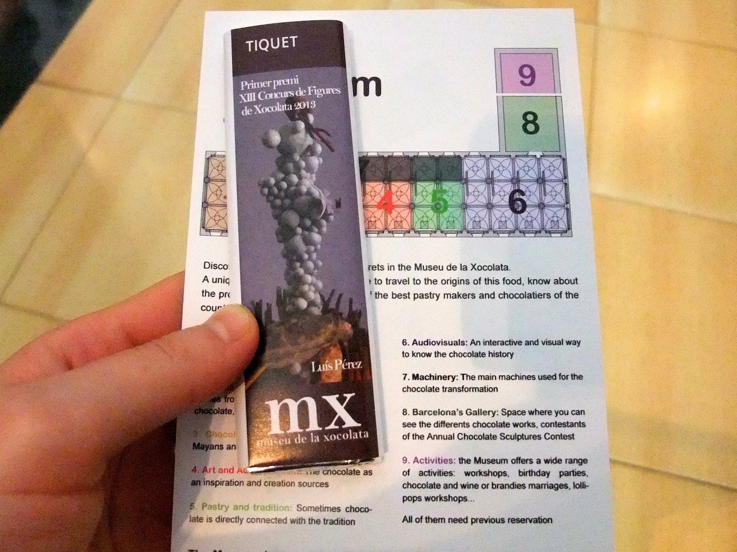 The museum ticket is actually a chocolate bar!