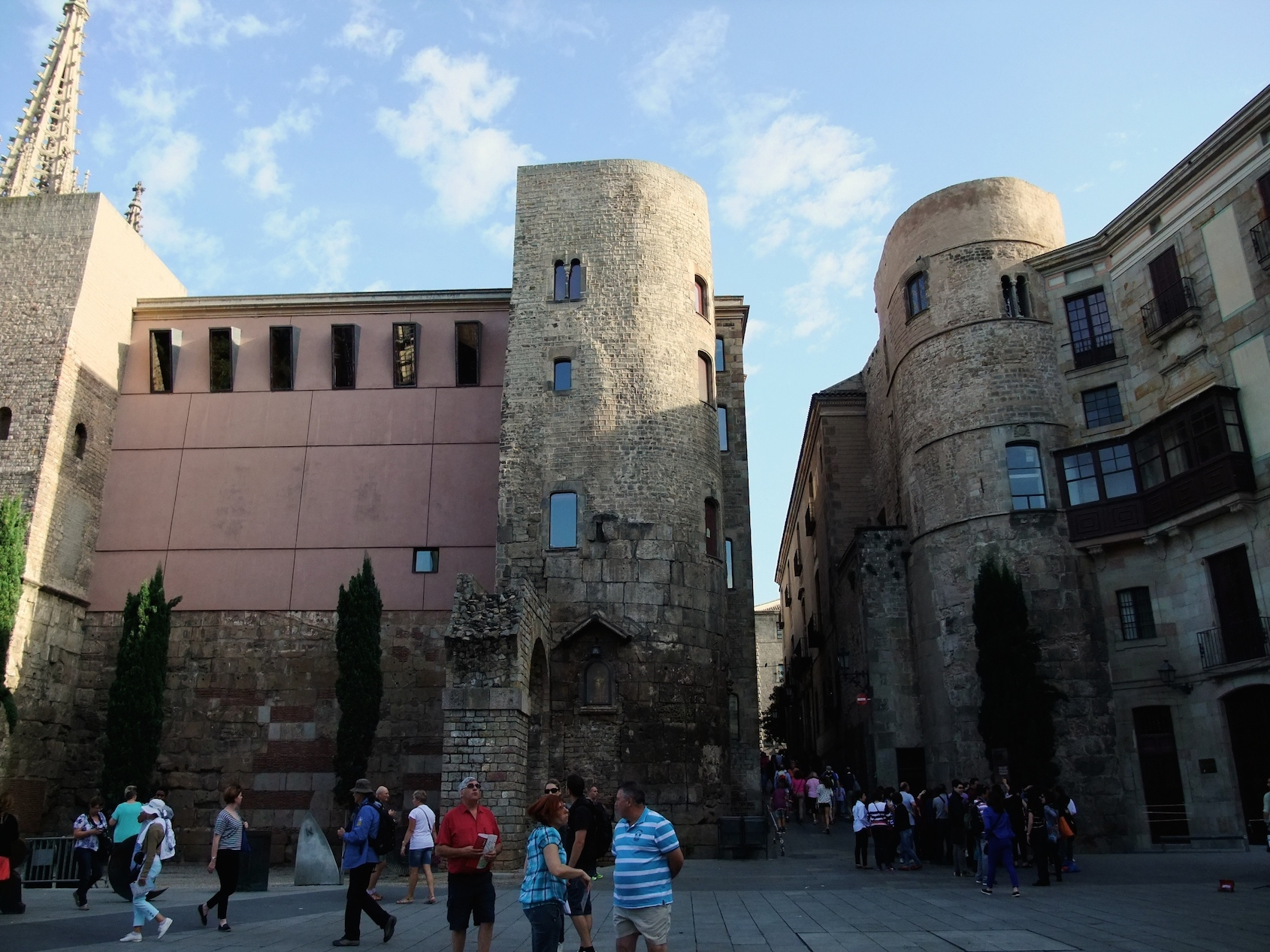 Remains of the Roman wall around the city in the Gothic Quarter