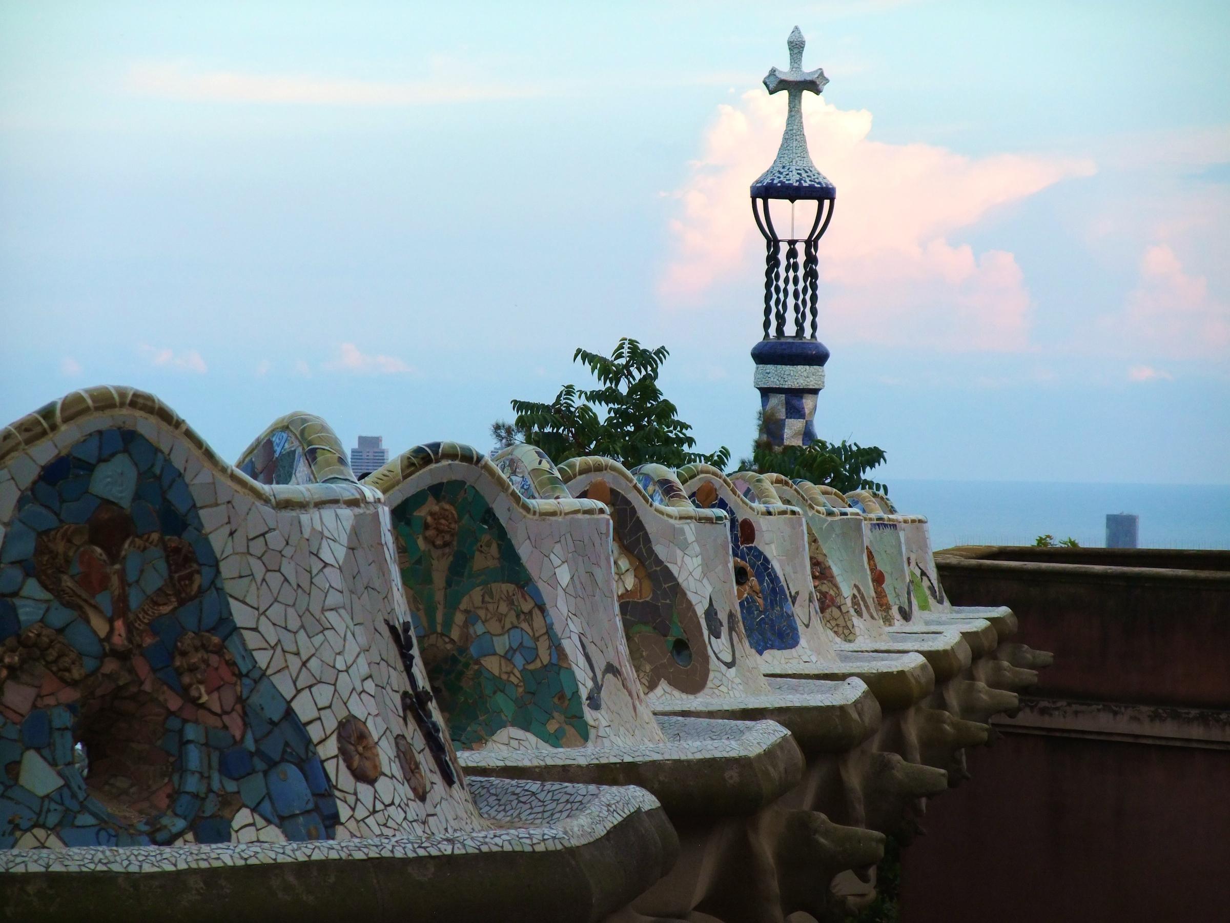 The terrace inside Park Güell