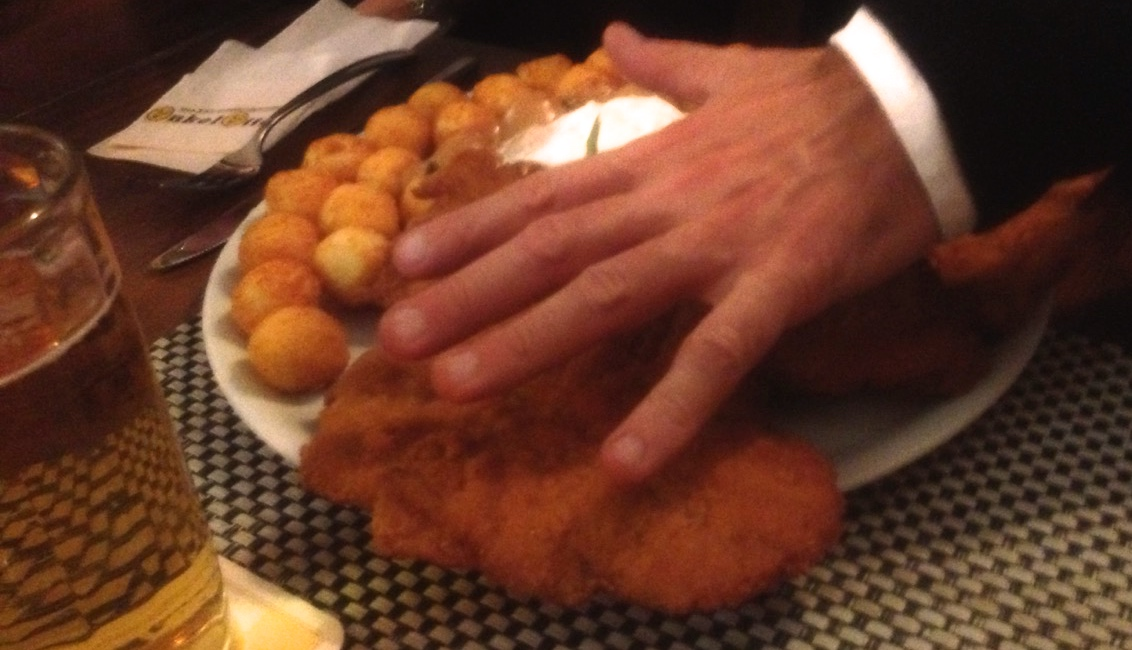 A size comparison so you can see just how big each cutlet of  Schnitzel  was