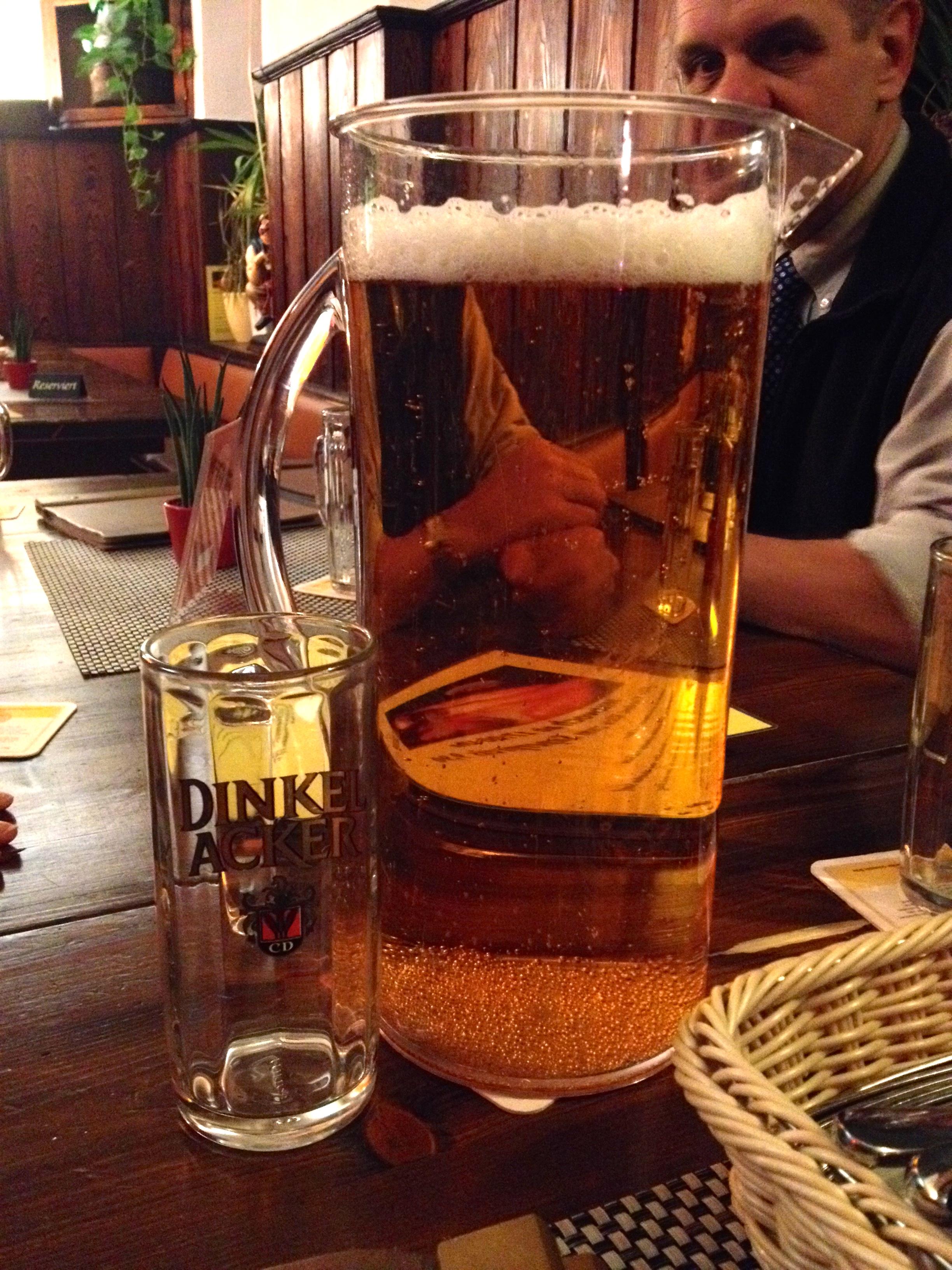 A pitcher of Dinkelacker beer