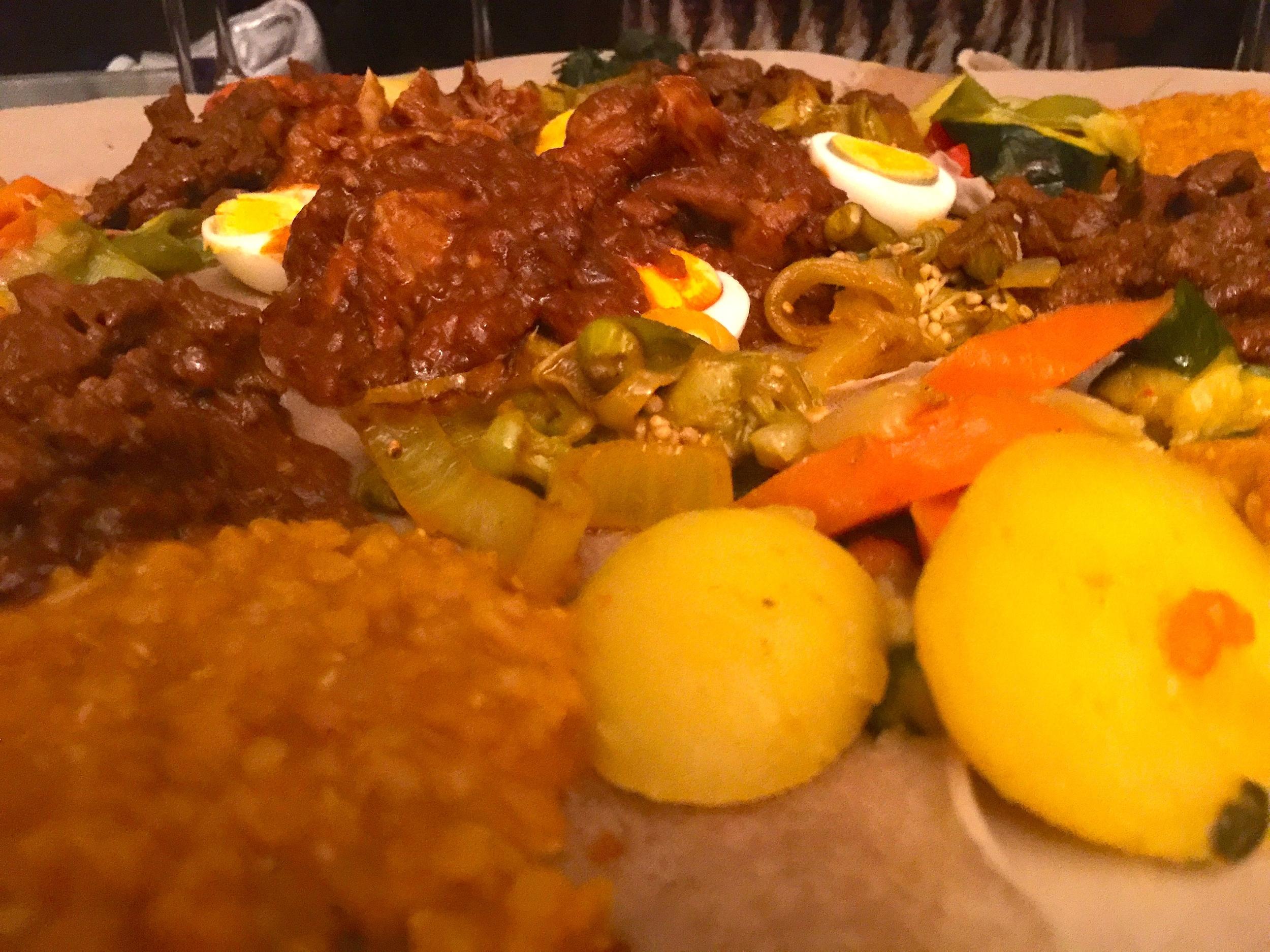 Kulwa meat platter served on injeera