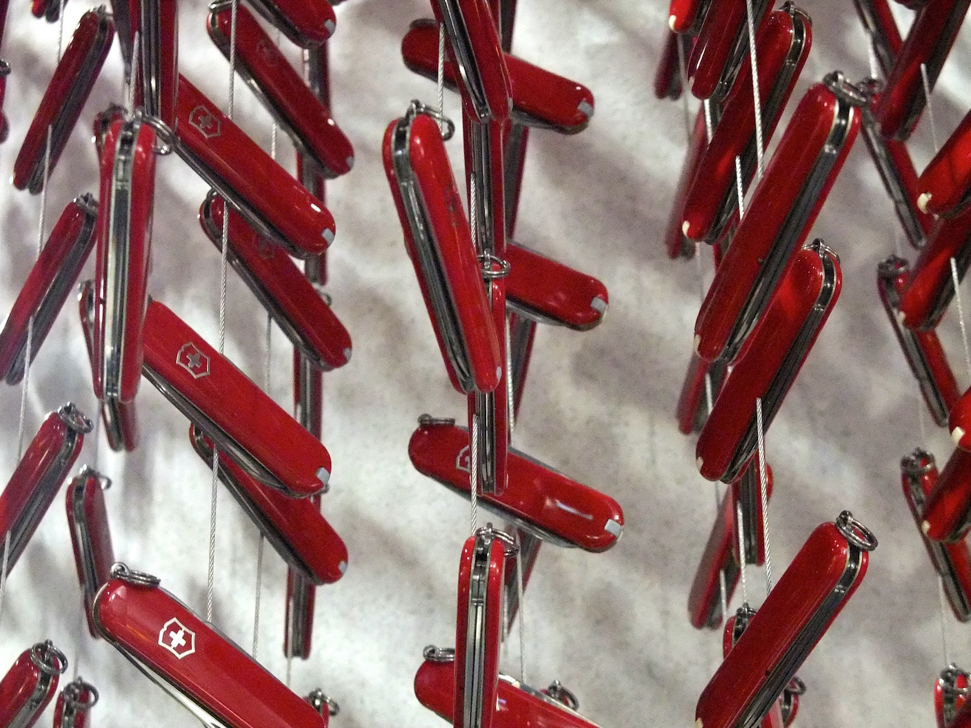 Hanging Swiss army knives in the Victorinox store