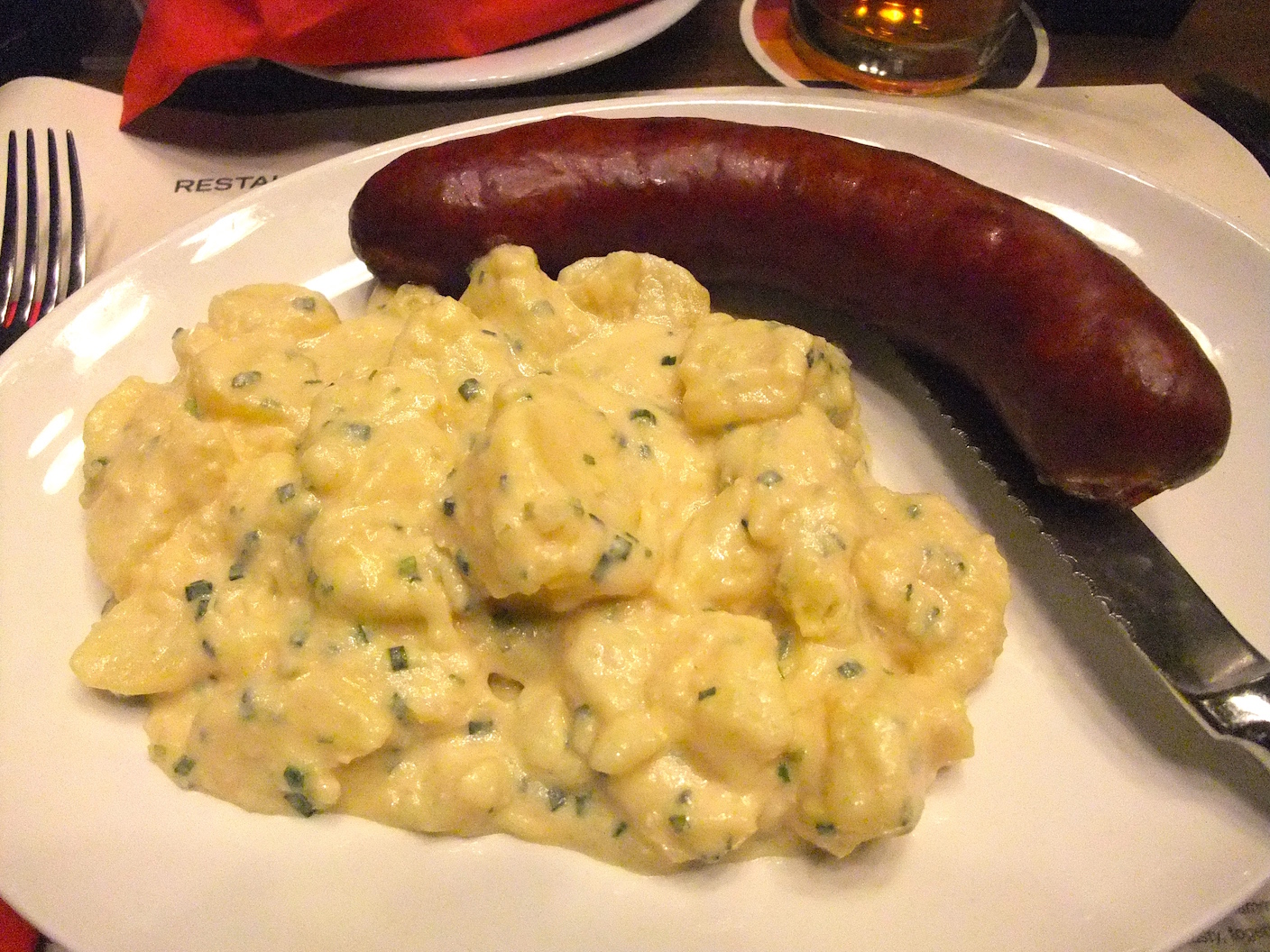 One of the sausages (I don't remember which one) and potato salad  at     Zeughauskeller