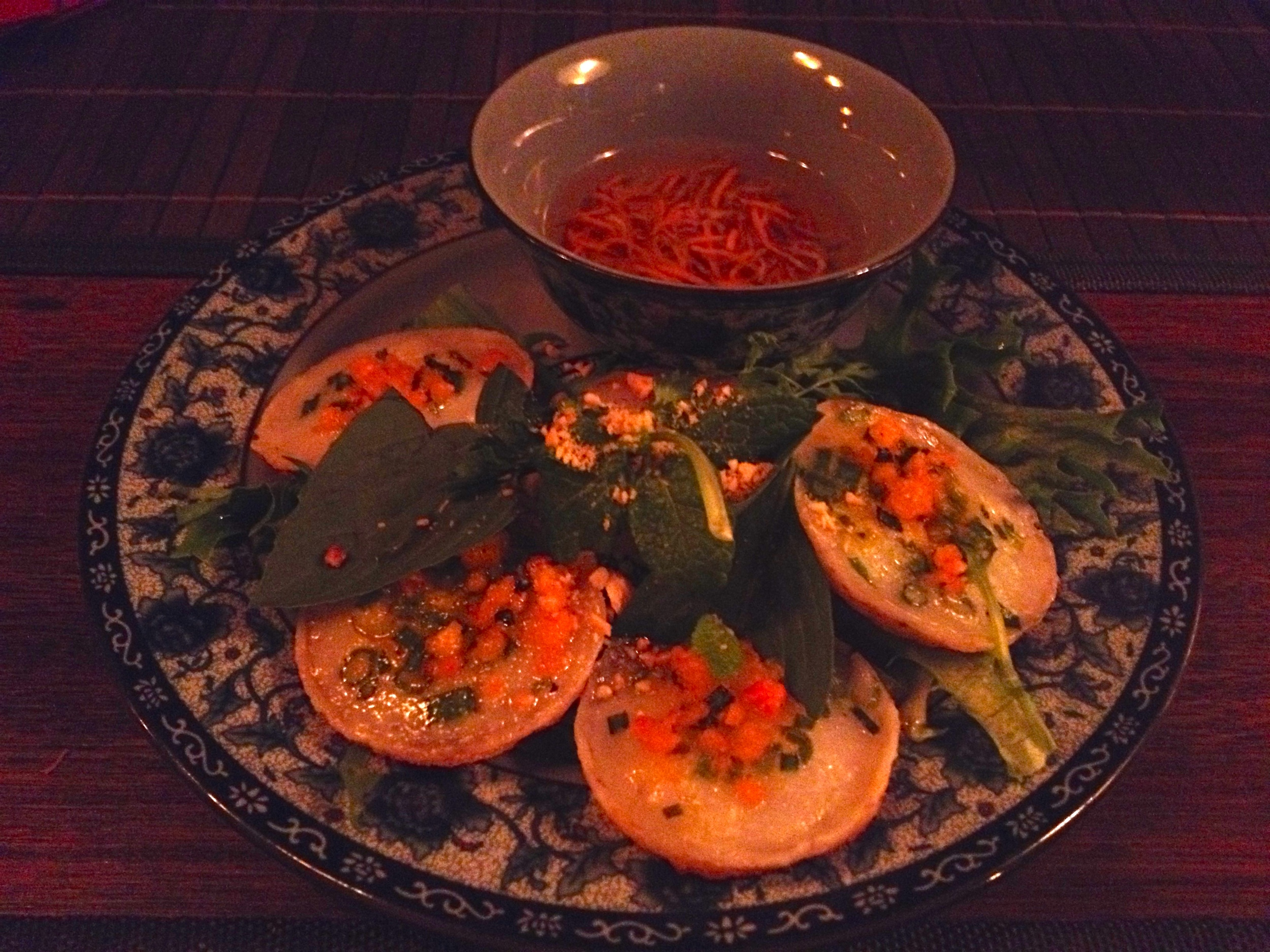 Rice coconut cakes appetizer