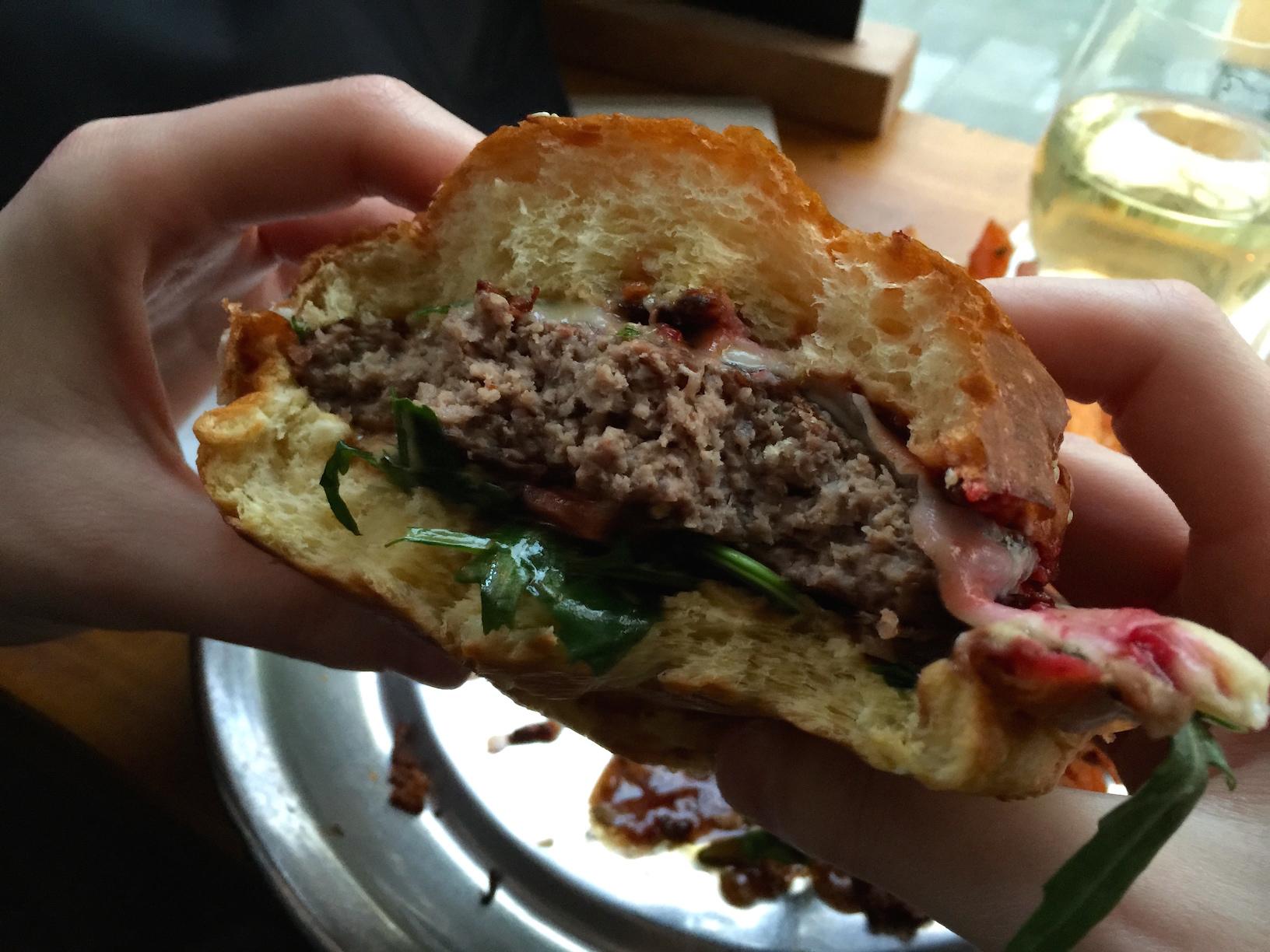 An inside shot of my burger