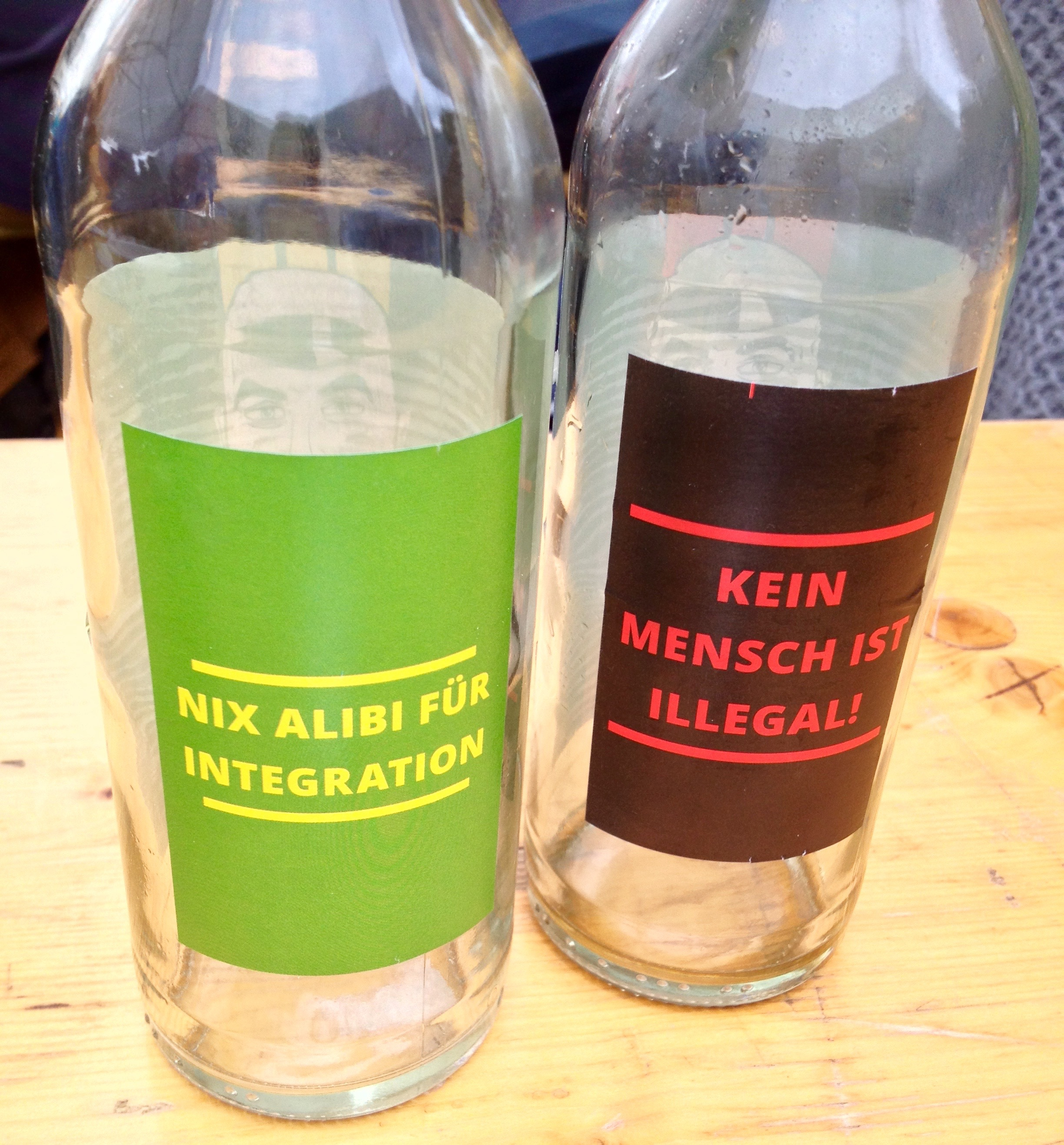 """The sayings on the back of our cola bottles -- """"Put an end to excuses for integration"""" and """"No man is illegal"""" -- very political!"""