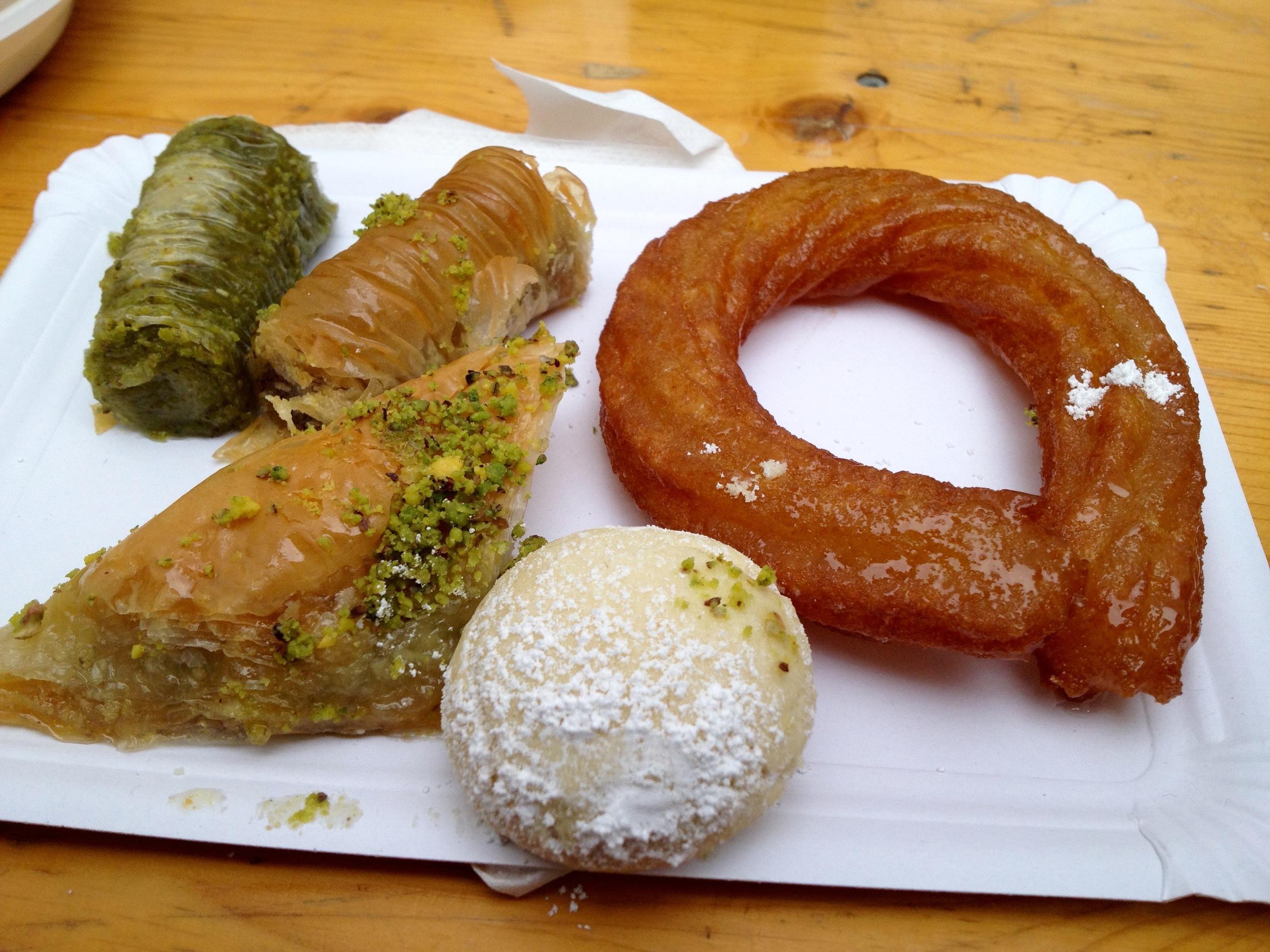 An assortment of baklava from the bakery