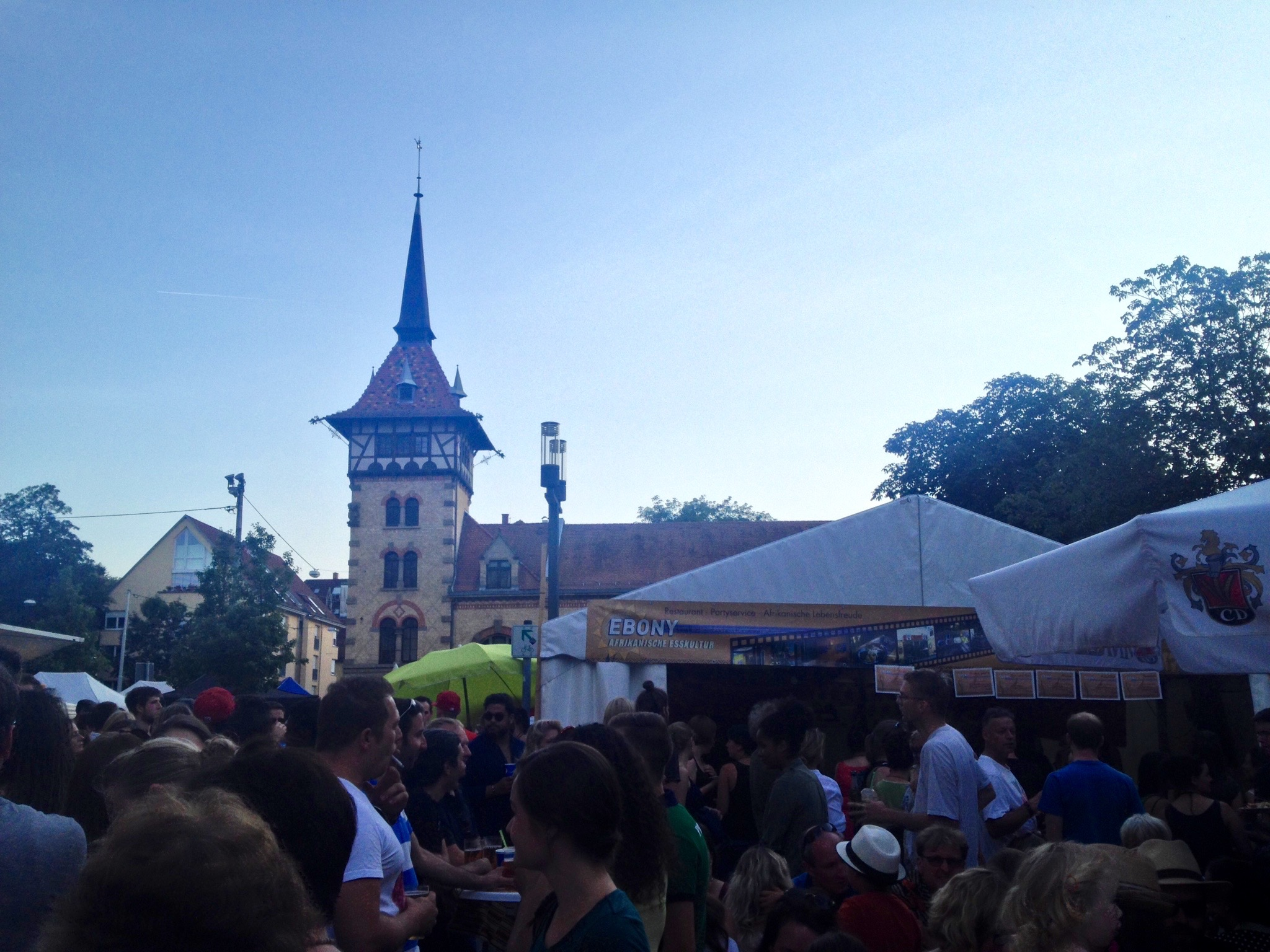 A picture of the food stands -- and crowds -- at the festival