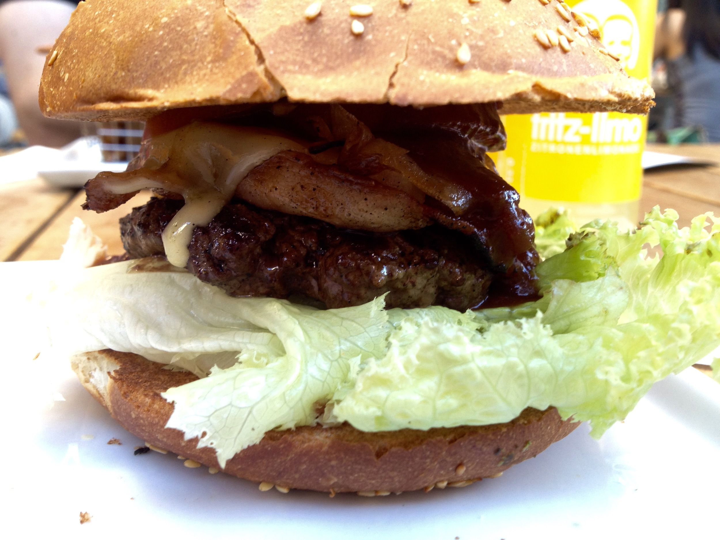 A side view of the American BBQ burger