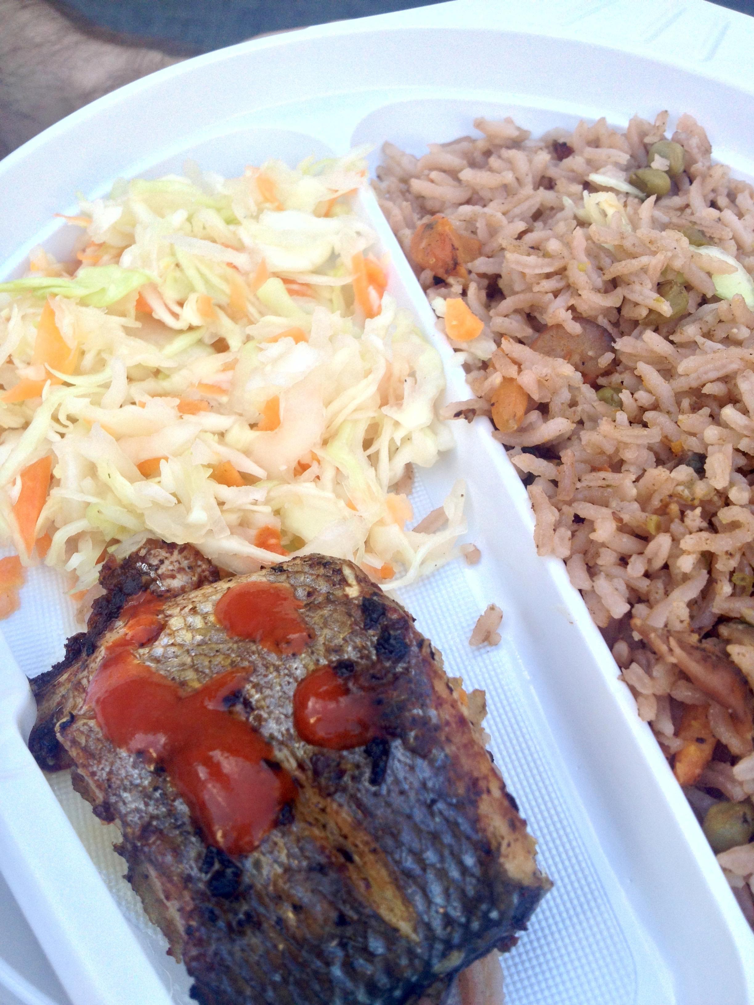 Fish, slaw, and rice from Haiti