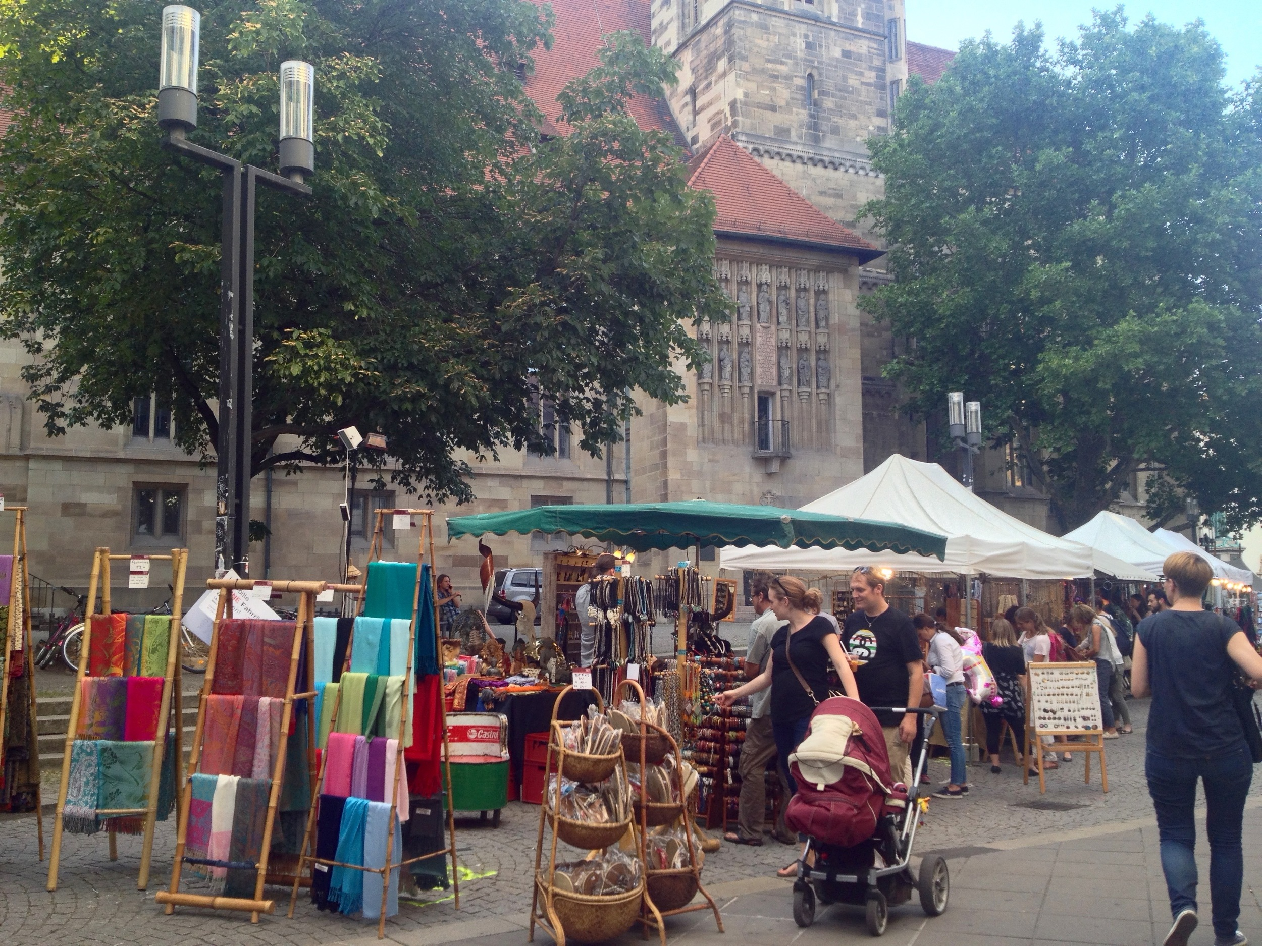 Trinket stands set up on Kirchstraße