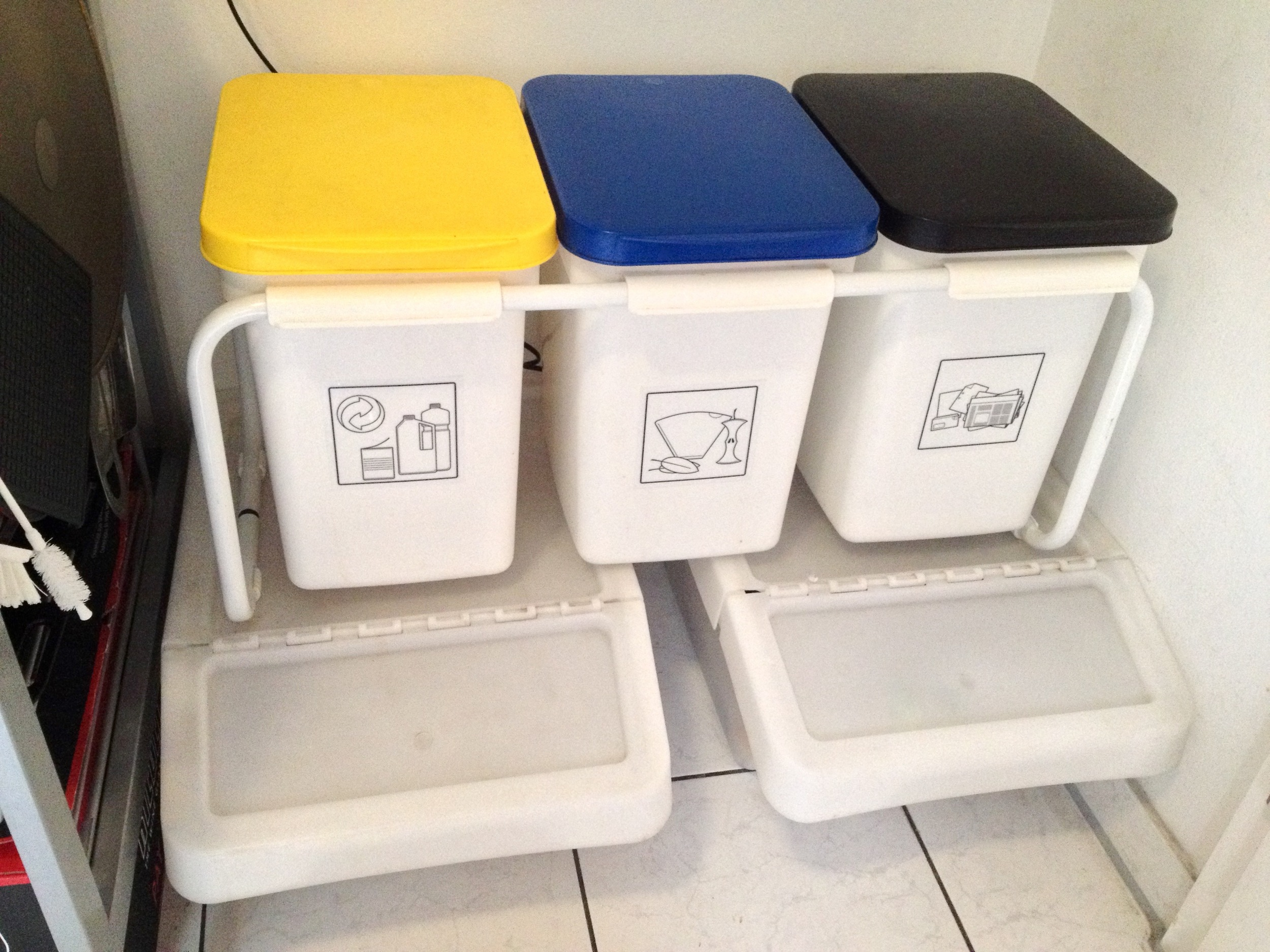 """Our """"recycling center"""" in our kitchen"""