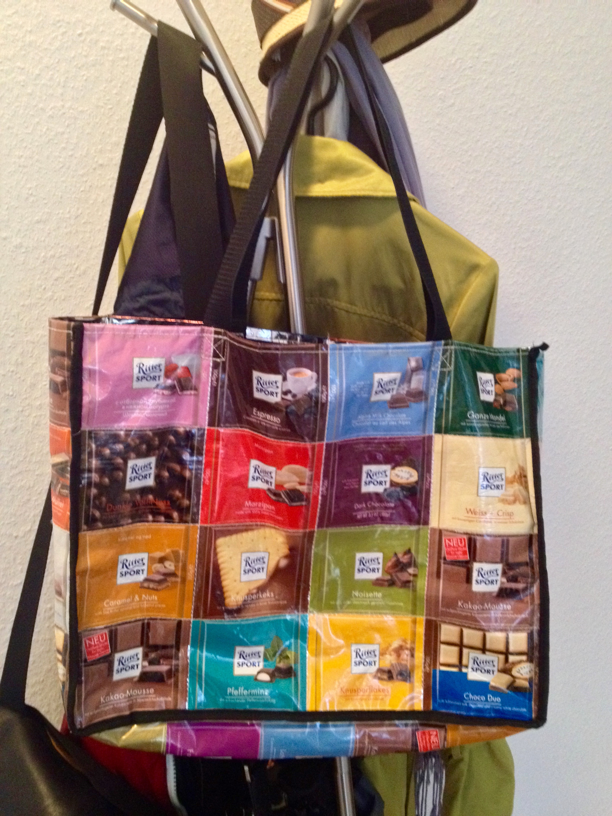My colorful shopping bag made out ofRitter Sport wrappers