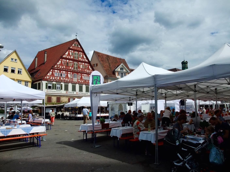 The many restaurants set up in the  Marktplatz